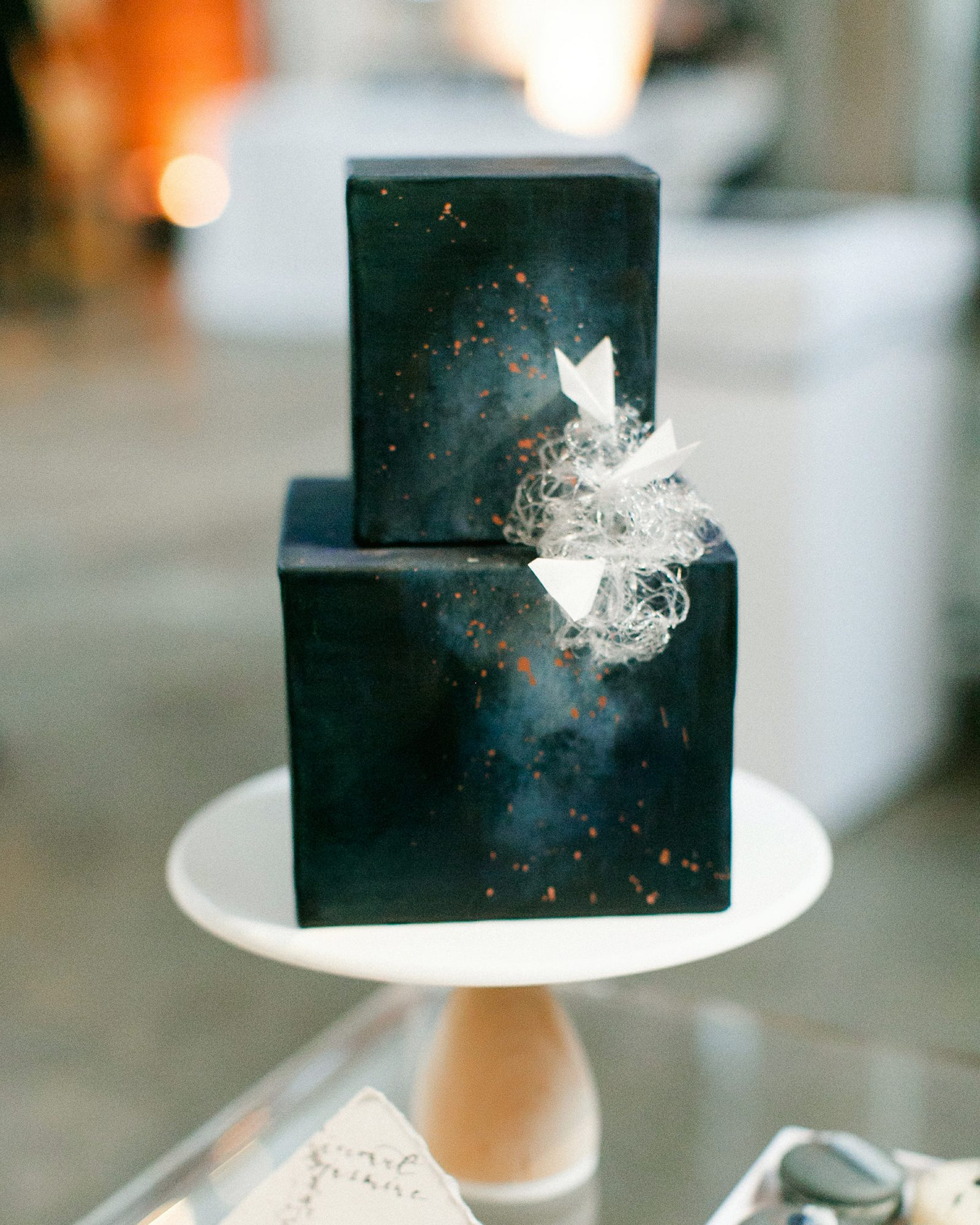 cubed wedding dark celestial cake