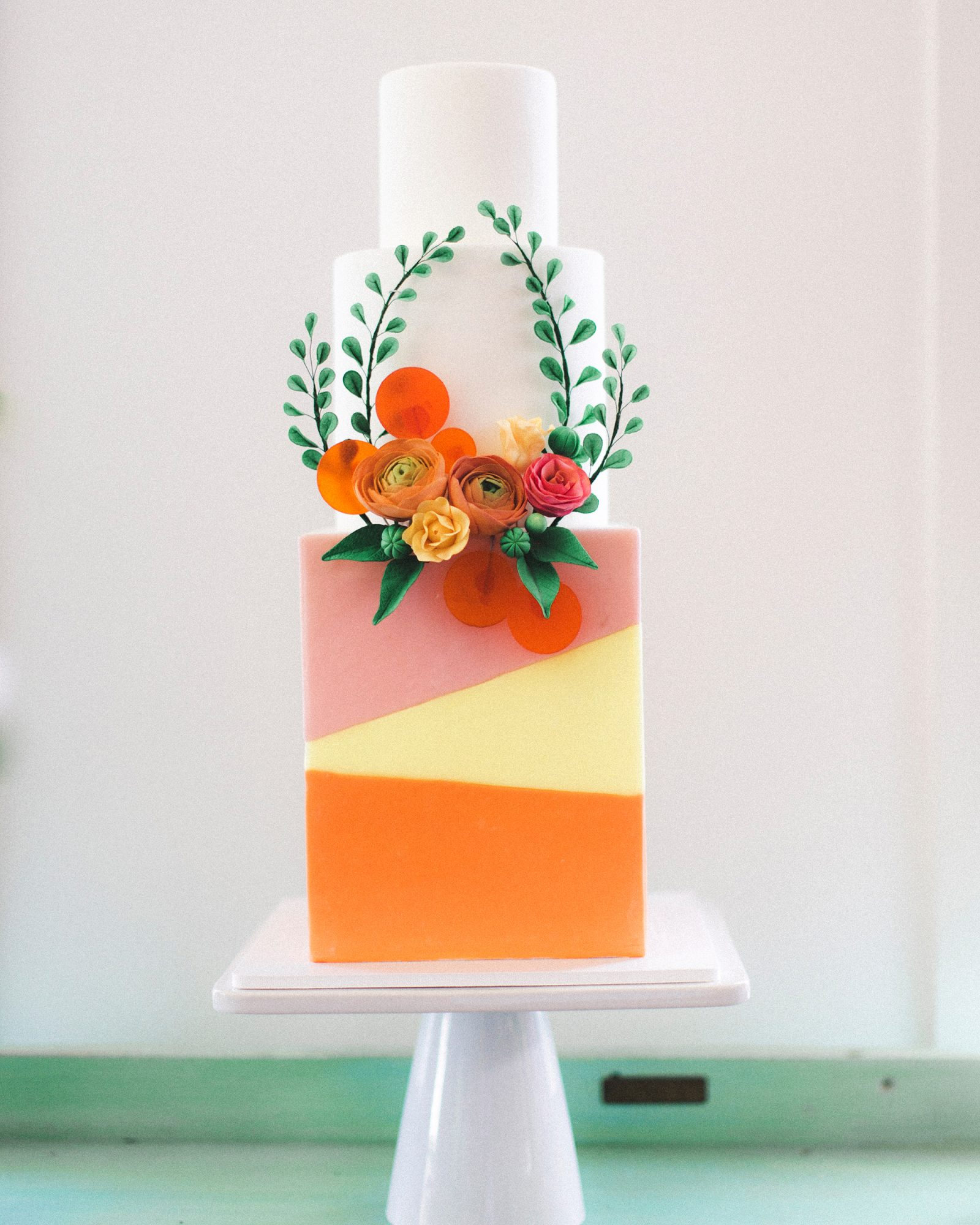 cubed wedding colorful cake