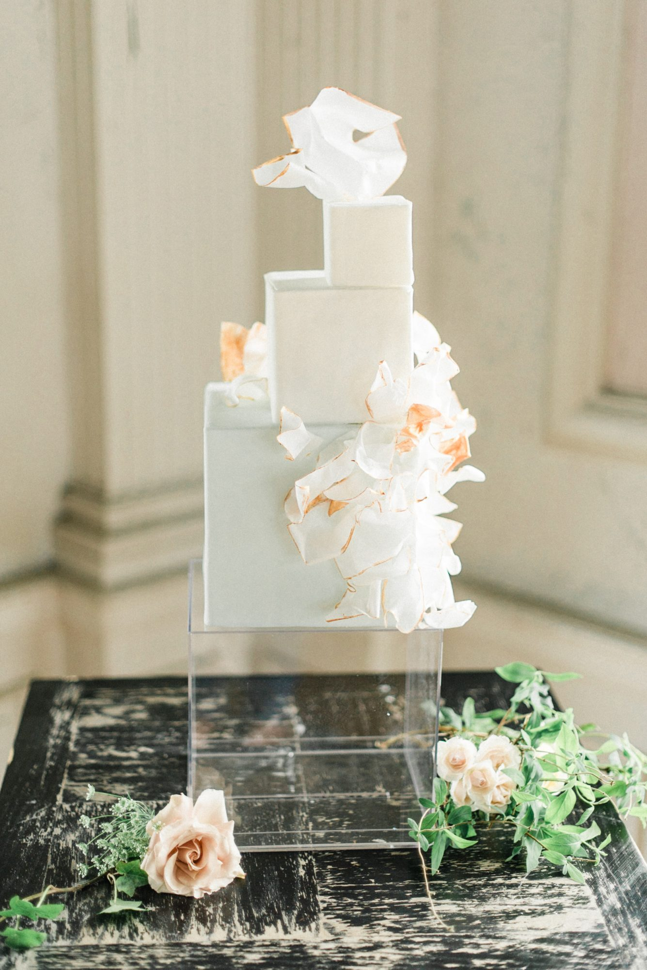 micro tier wedding cakes cubed white layers
