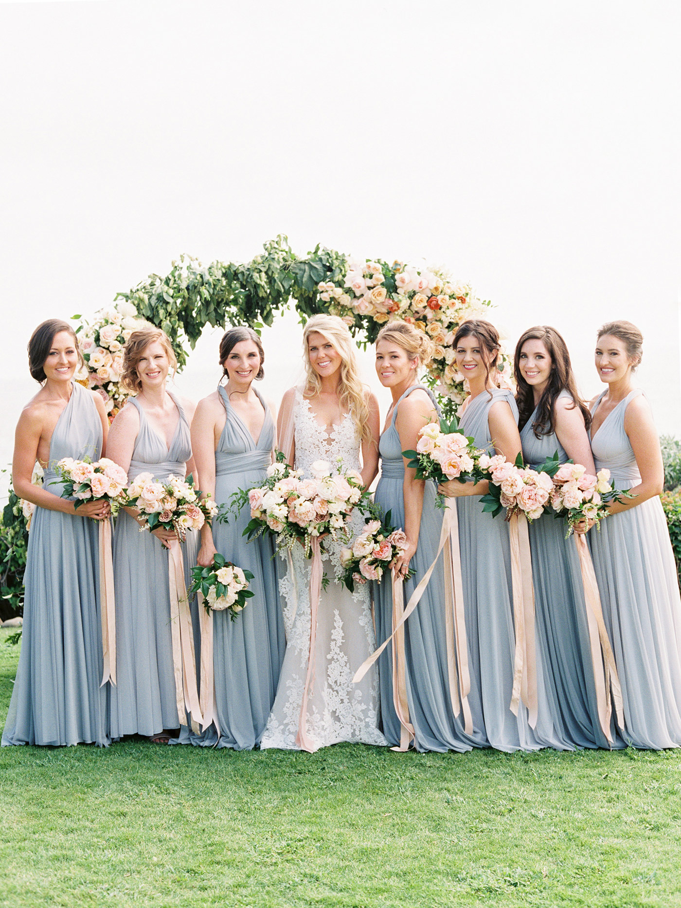 mykaela and brendon wedding bride with bridesmaids wearing dusty blue gowns