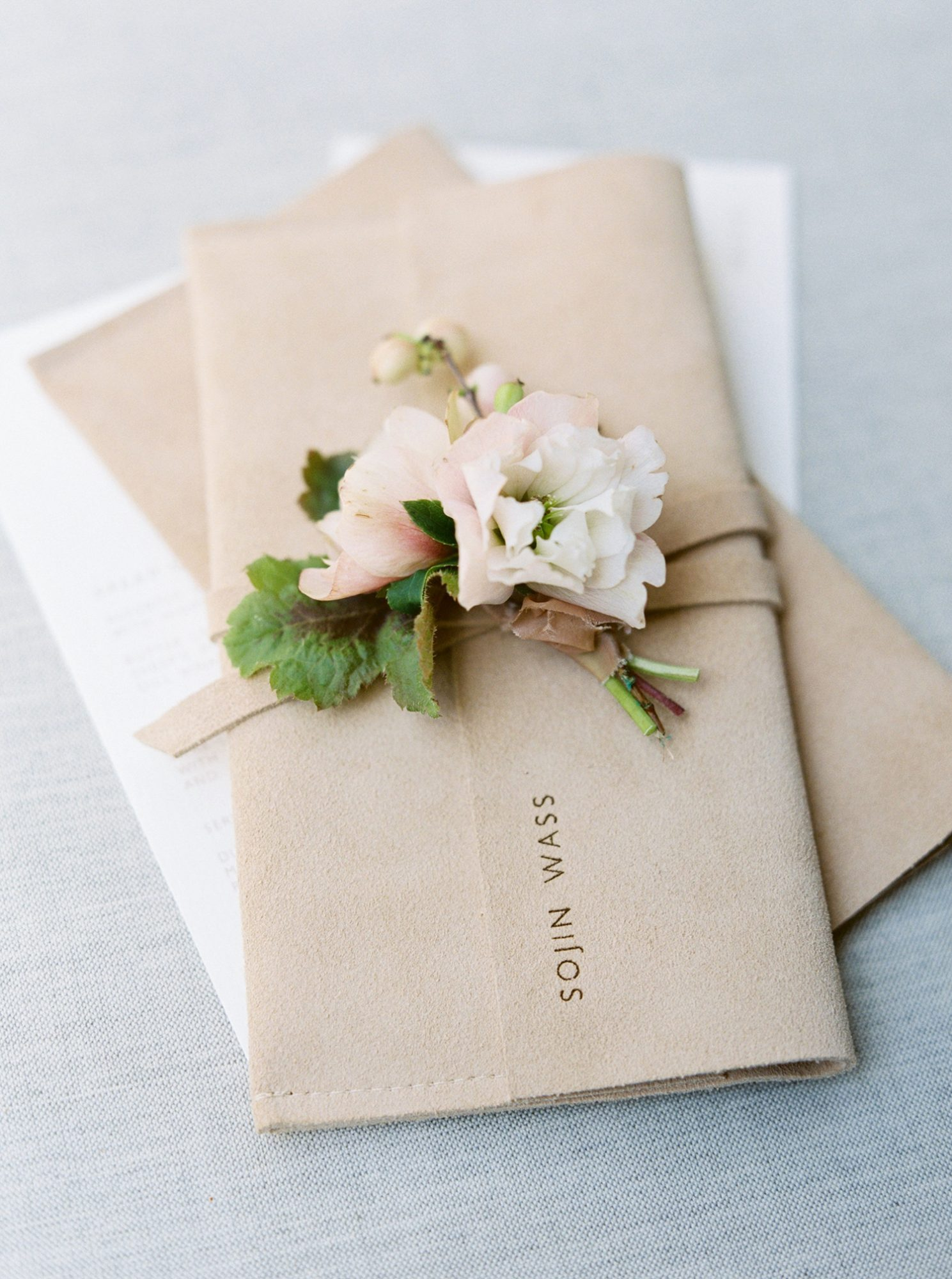 leather wedding ideas engraved suede vow case
