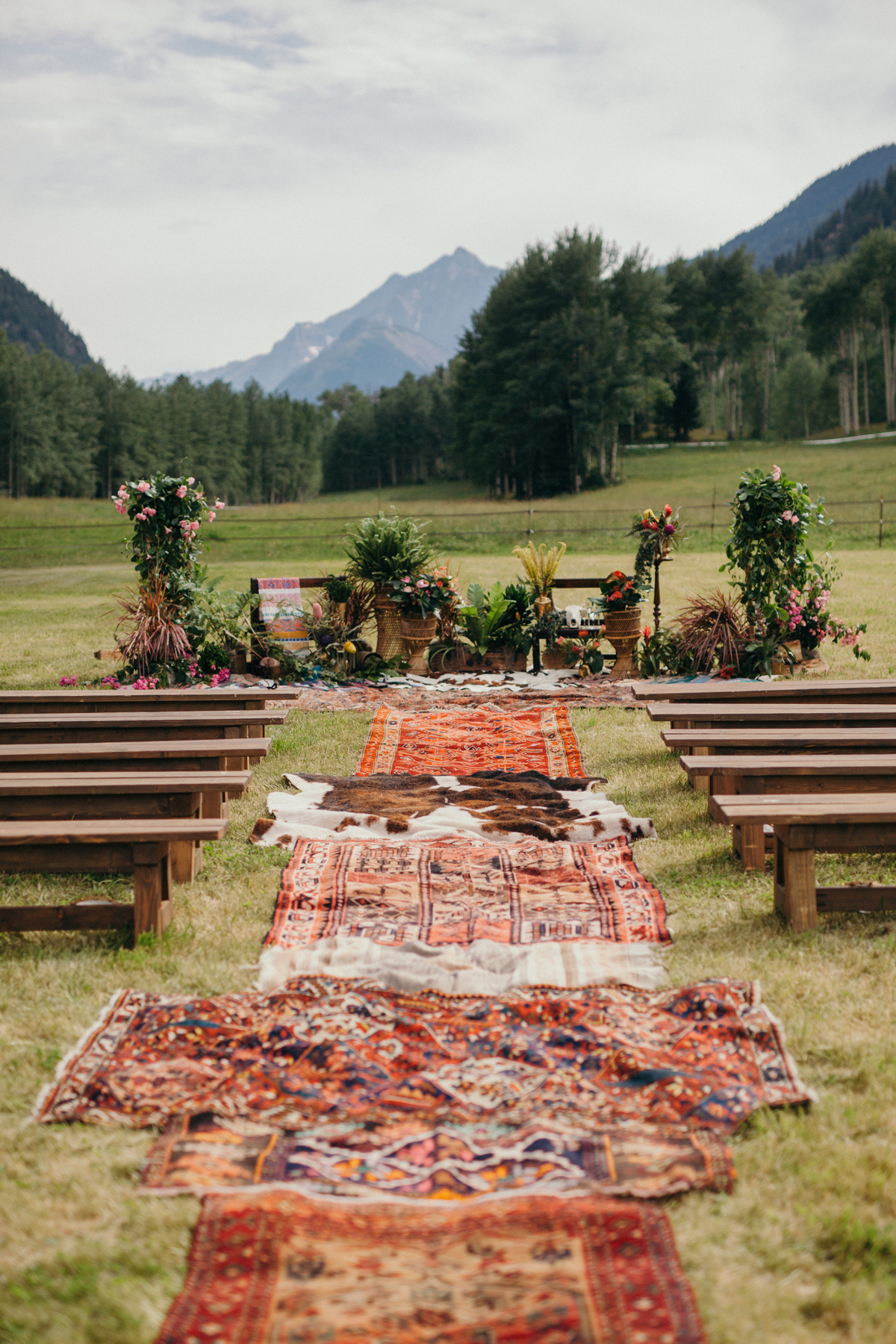 animal print wedding ideas rugs and hides outdoor aisle decorations