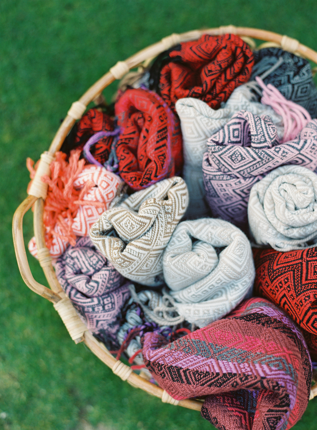 Peruvian shawls in basket for guests