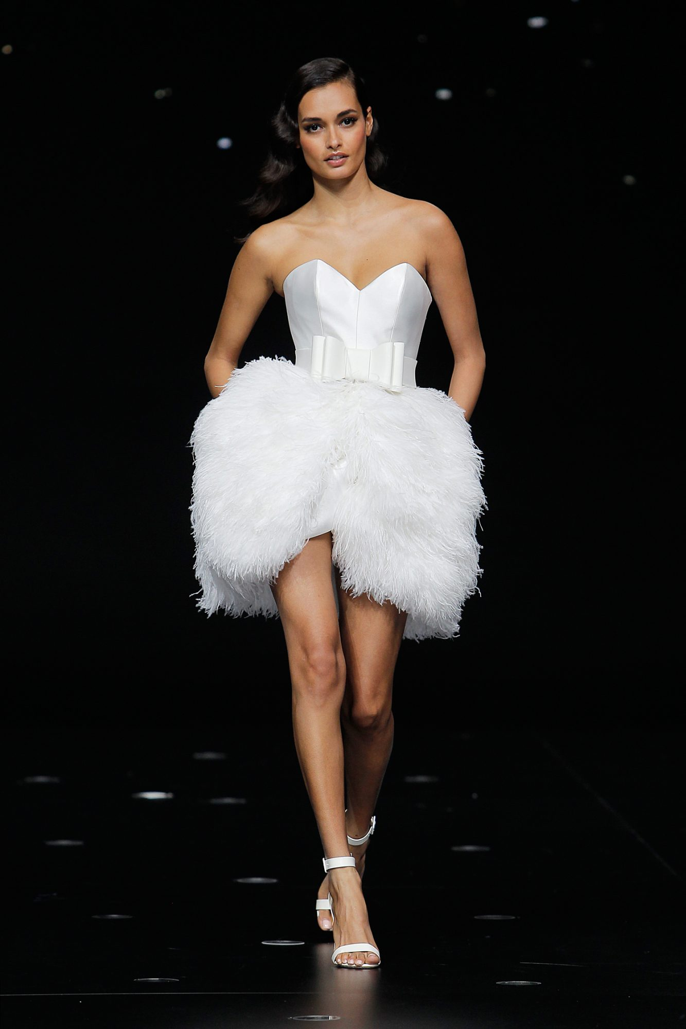 pronovias strapless short wedding dress with feathered skirt spring 2020