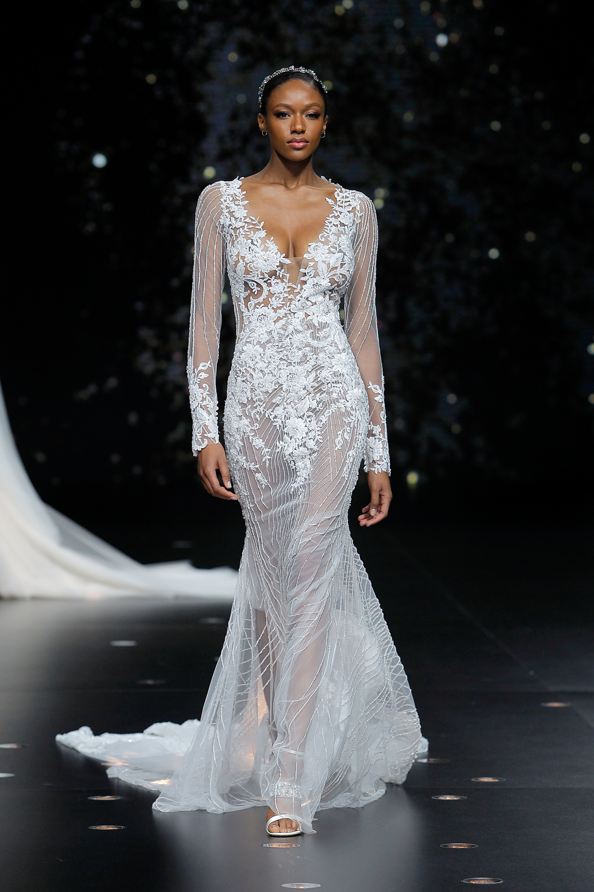 pronovias sheer lace long sleeve wedding dress with train spring 2020