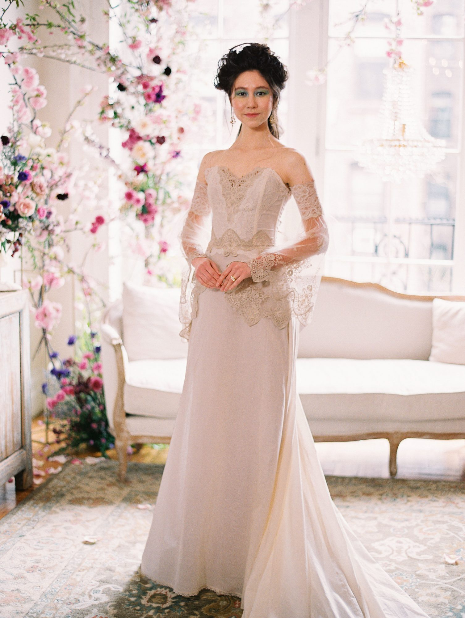 off-the-shoulder sheer lace bell sleeves a-line wedding dress Claire Pettibone Spring 2020