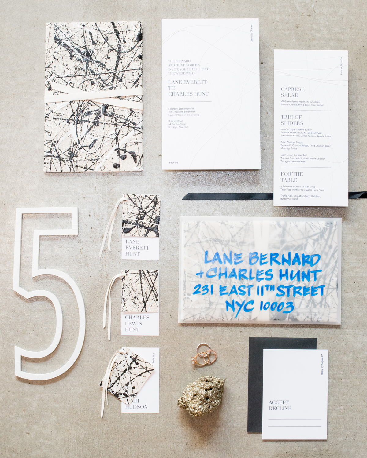 art-inspired wedding ideas jackson pollock stationary suite