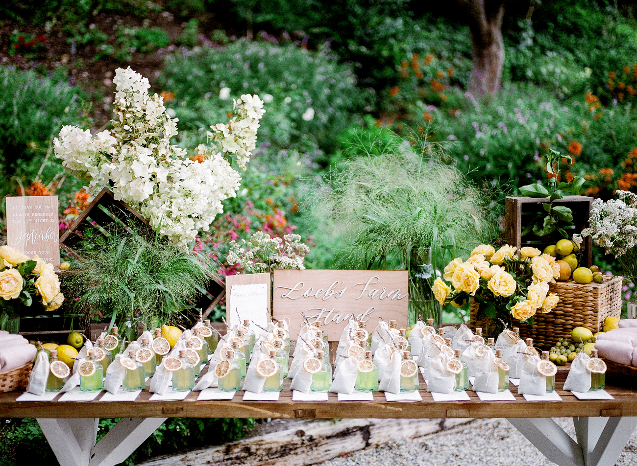 multiple guest wedding favor table display