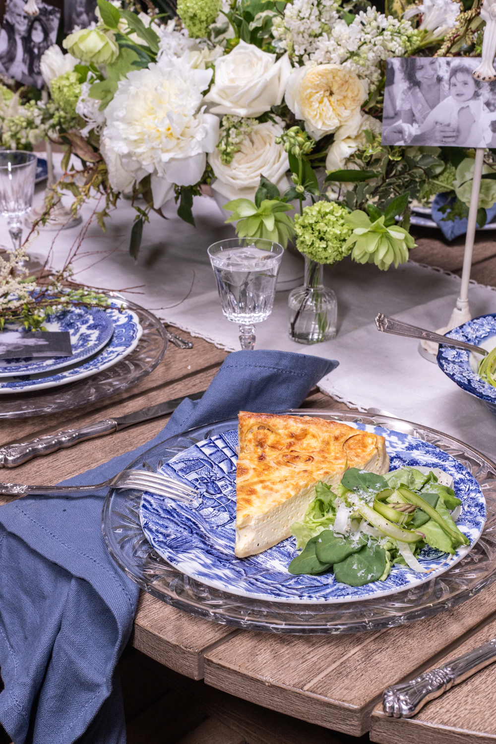 elisa marshall mothers day quiche plated on blue china