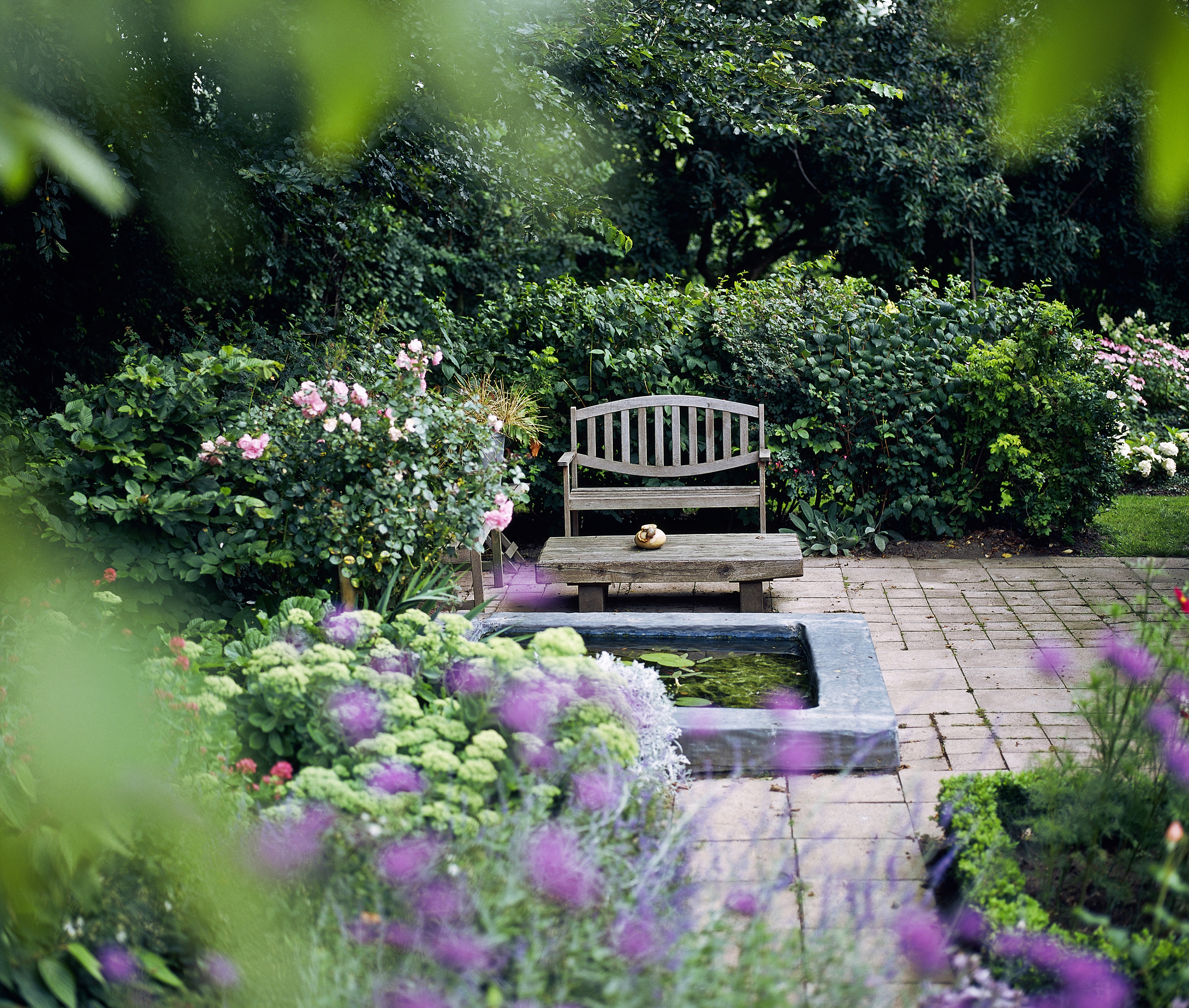 Private Backyard with Flowers and Shrubs