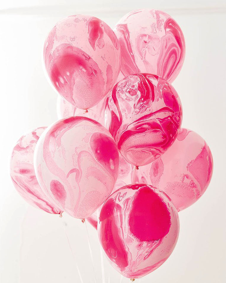 bachelorette party supplies pink marble balloons