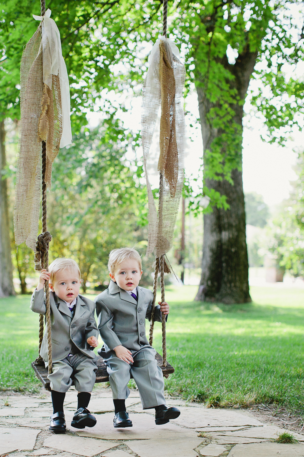 small hanging children's swing outside