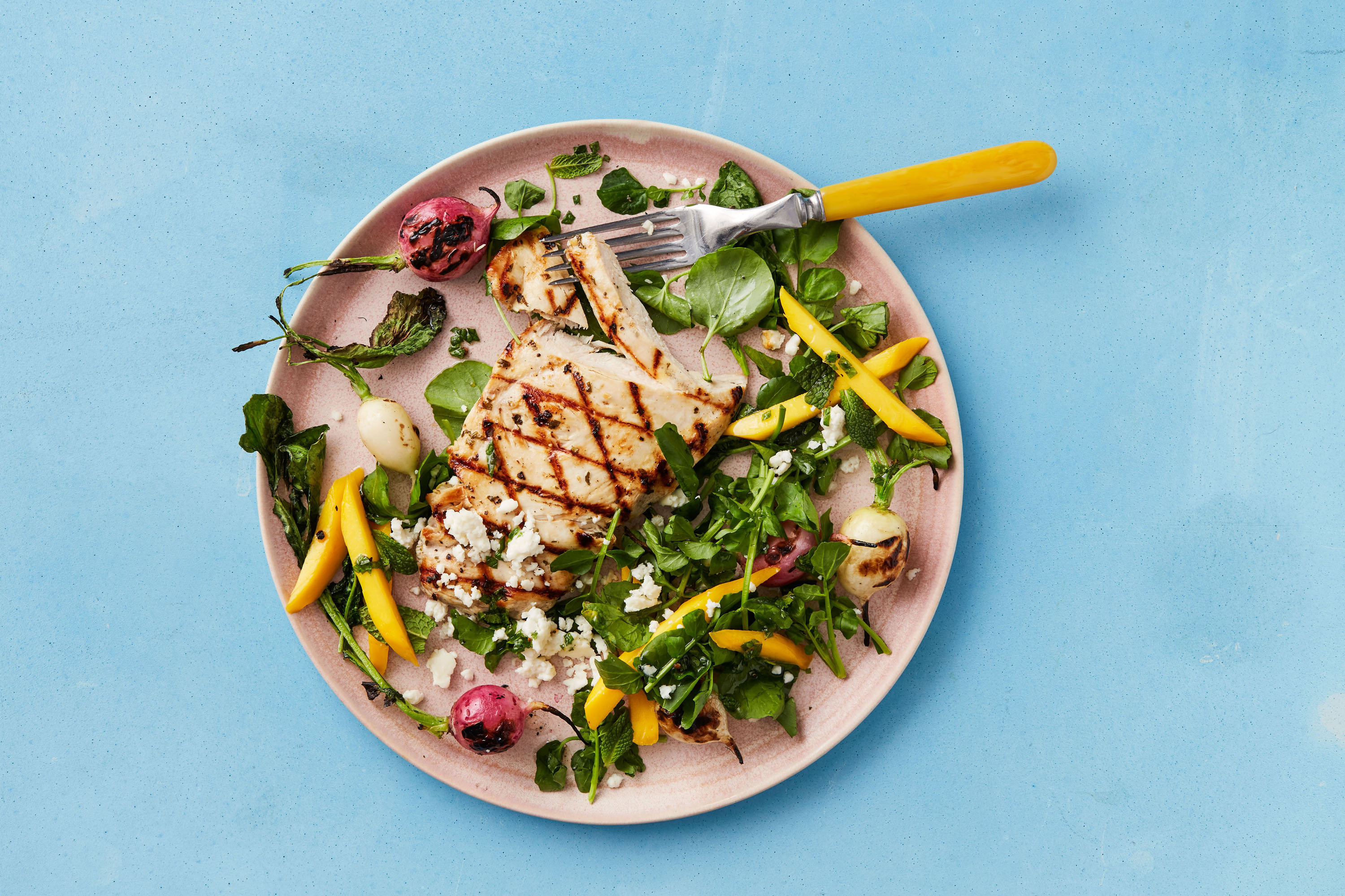 grilled chicken with mango mint lime dressing