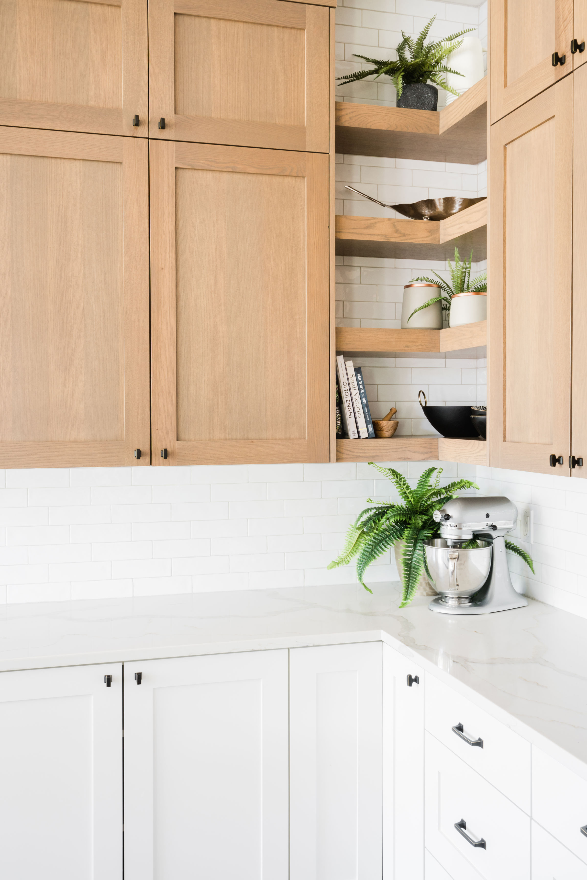 oak point kitchen two tone cabinets