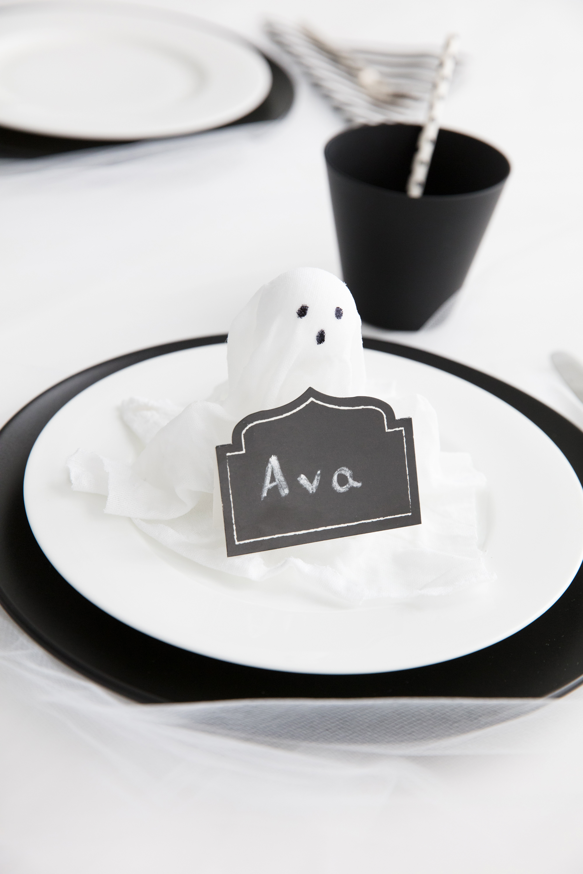 bootiful halloween cloth ghost placecard