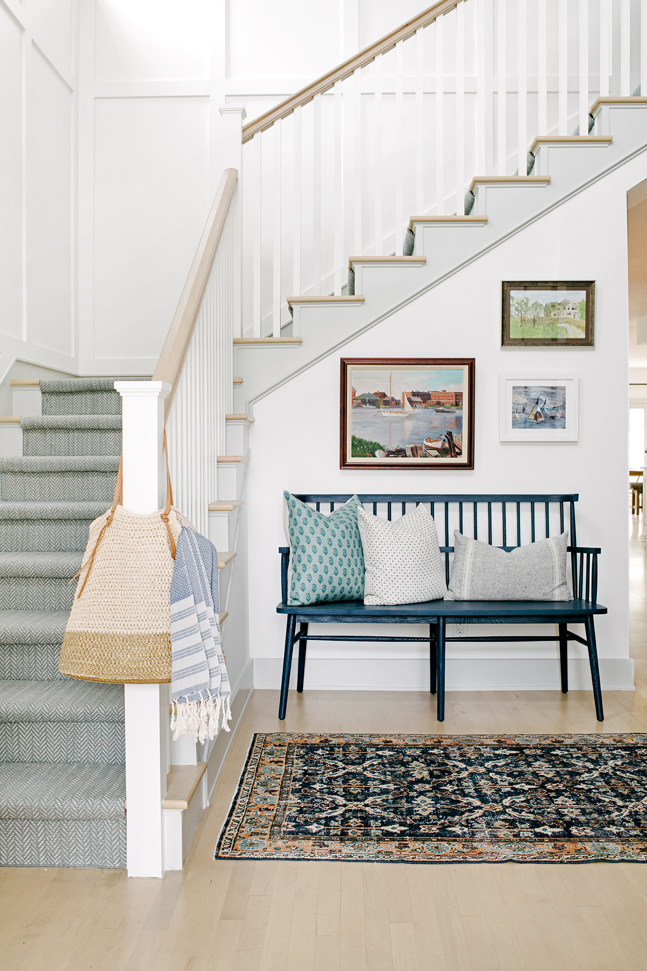 southern california house stairway and blue bench
