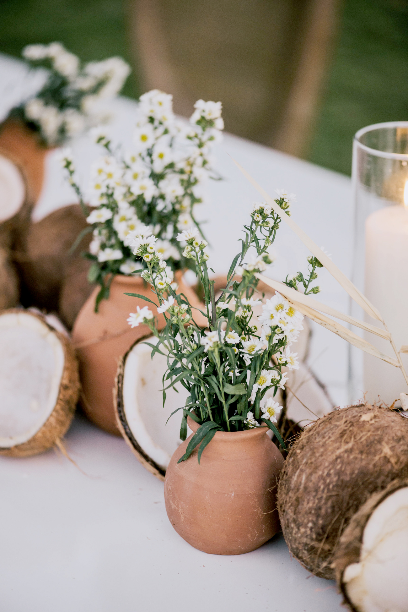 broken coconuts, terra cotta pots, and white floral table decor