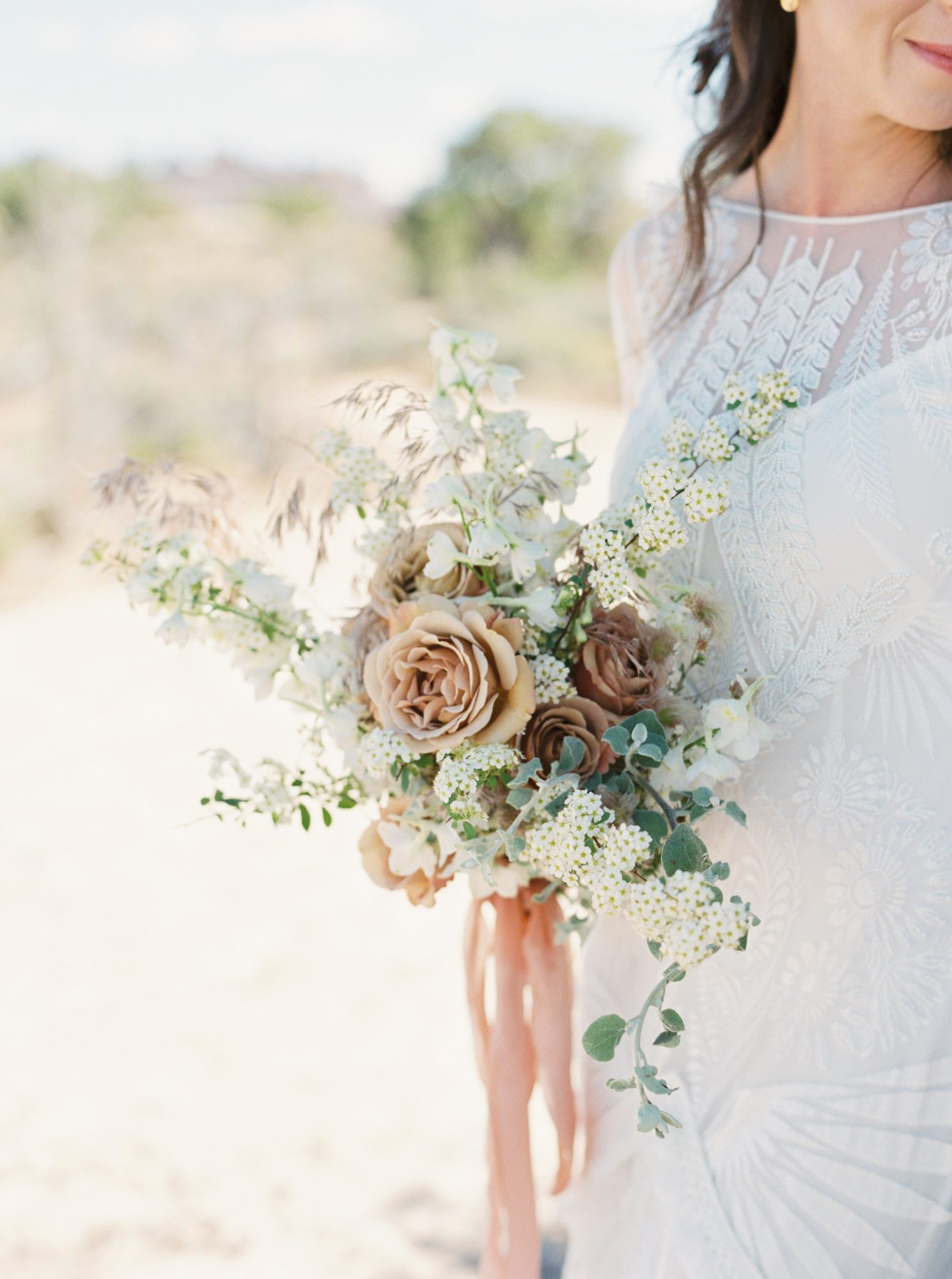 jeanette david wedding desert bouquet bride