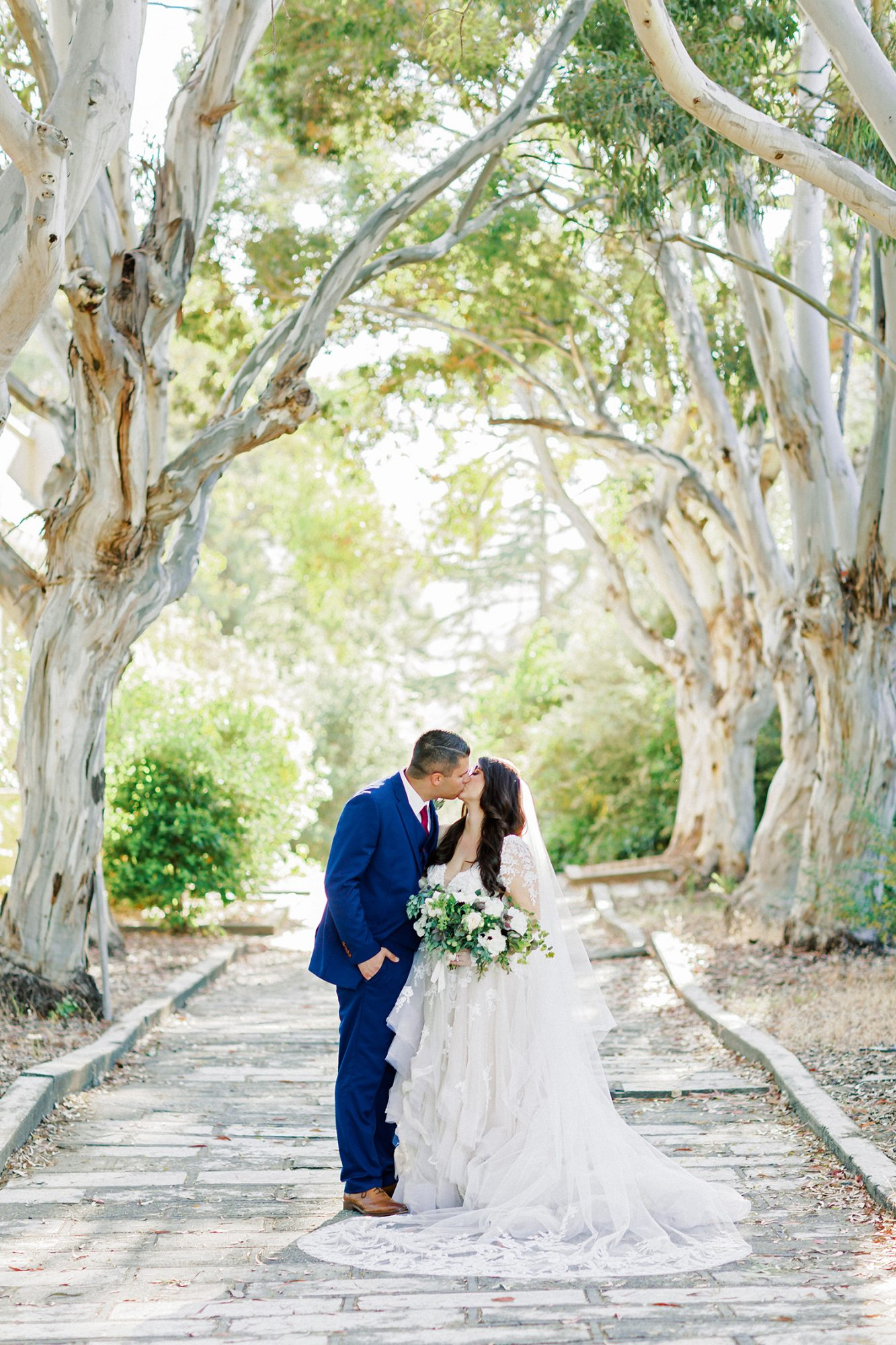 erika evan wedding couple kiss in line of trees