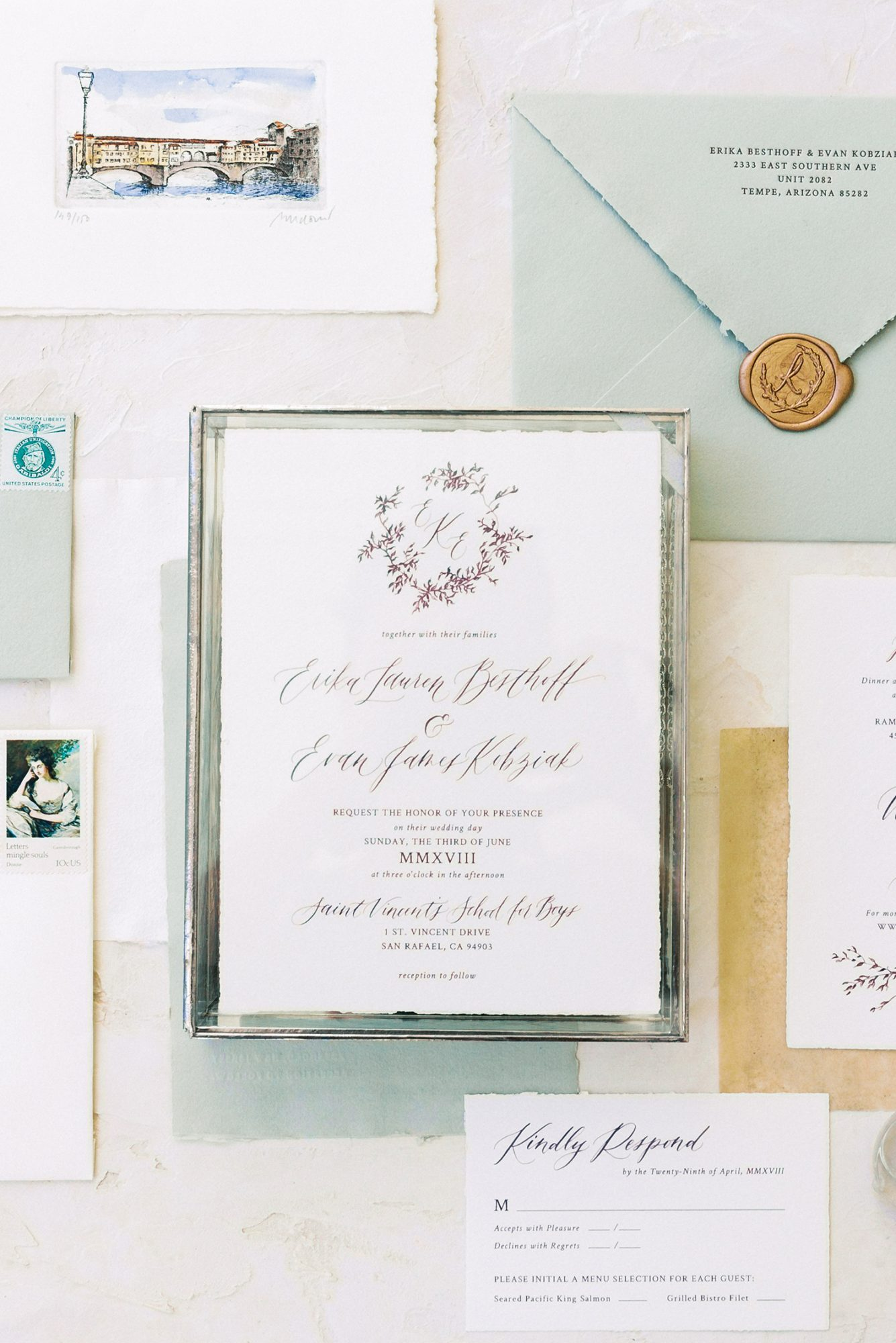 erika evan wedding invites