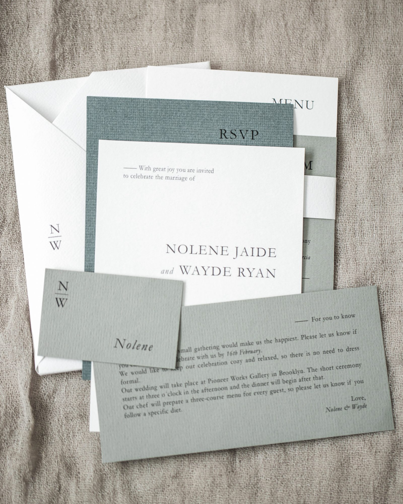 non-traditional wedding stationery suite creative messages