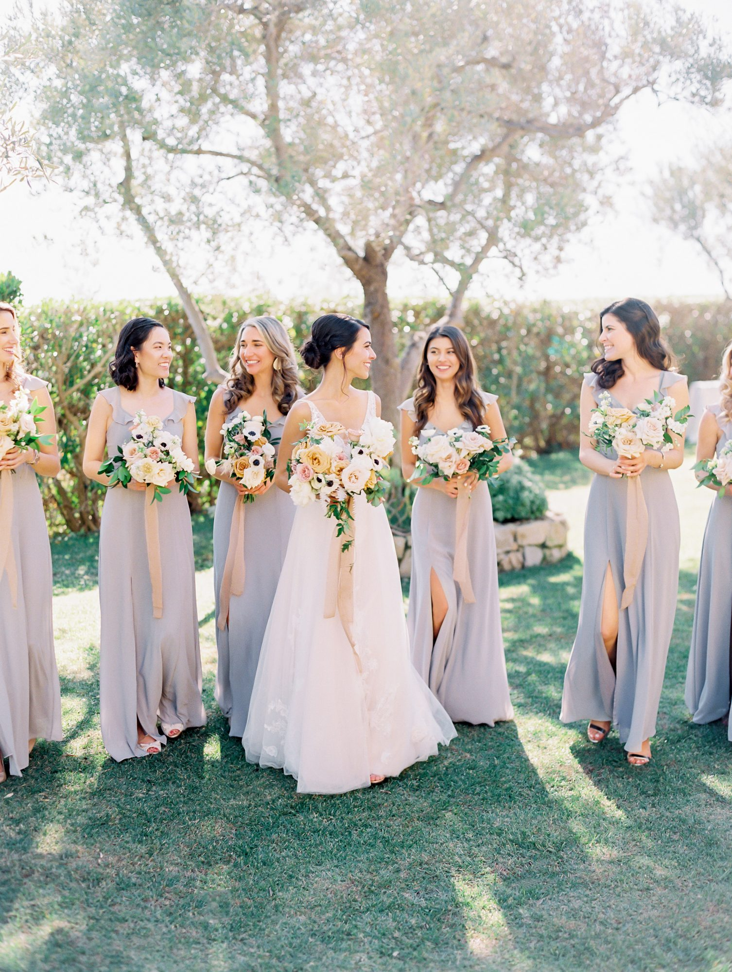 relaxed bride and bridesmaids hairstyles