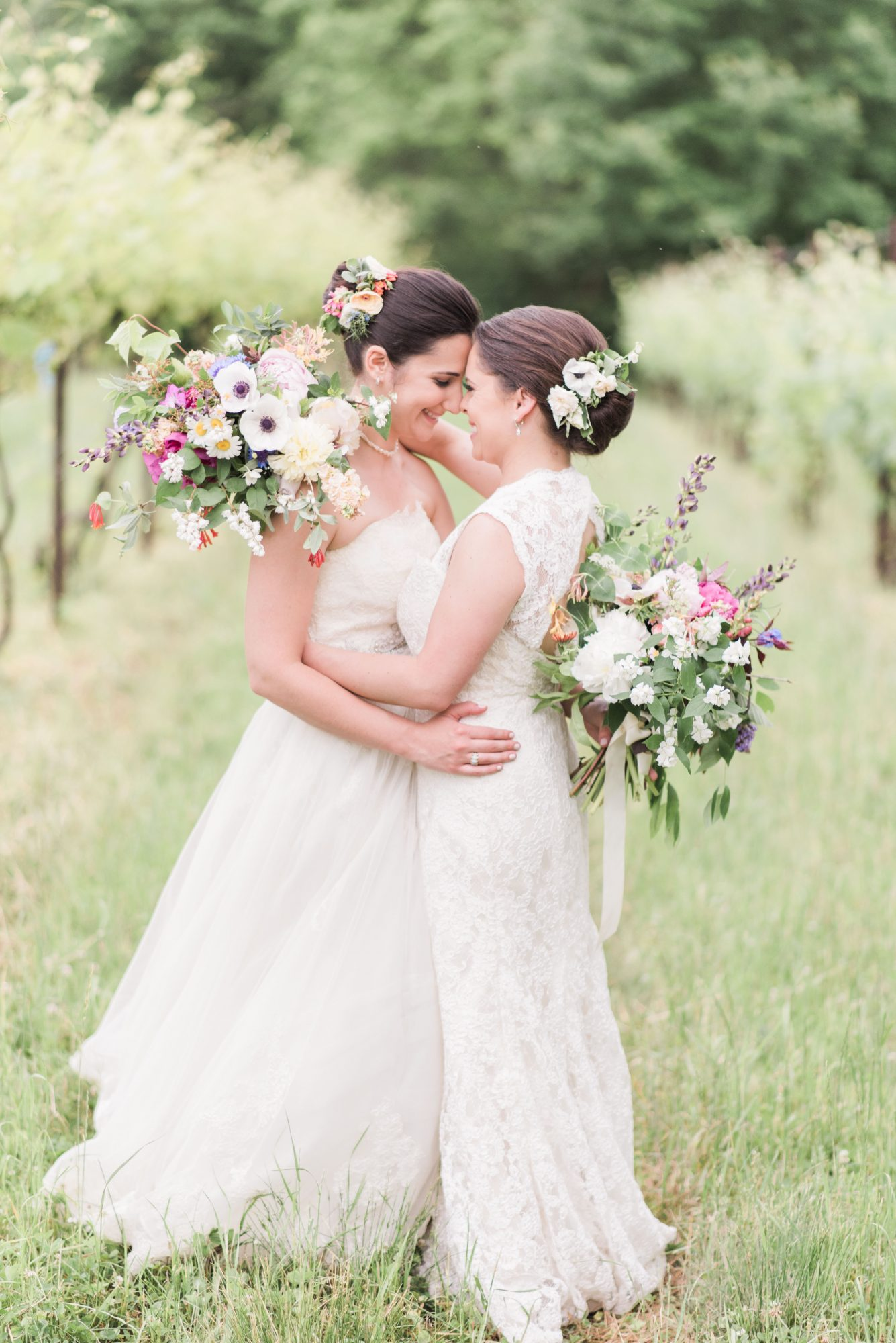 matching brides low buns hairstyles