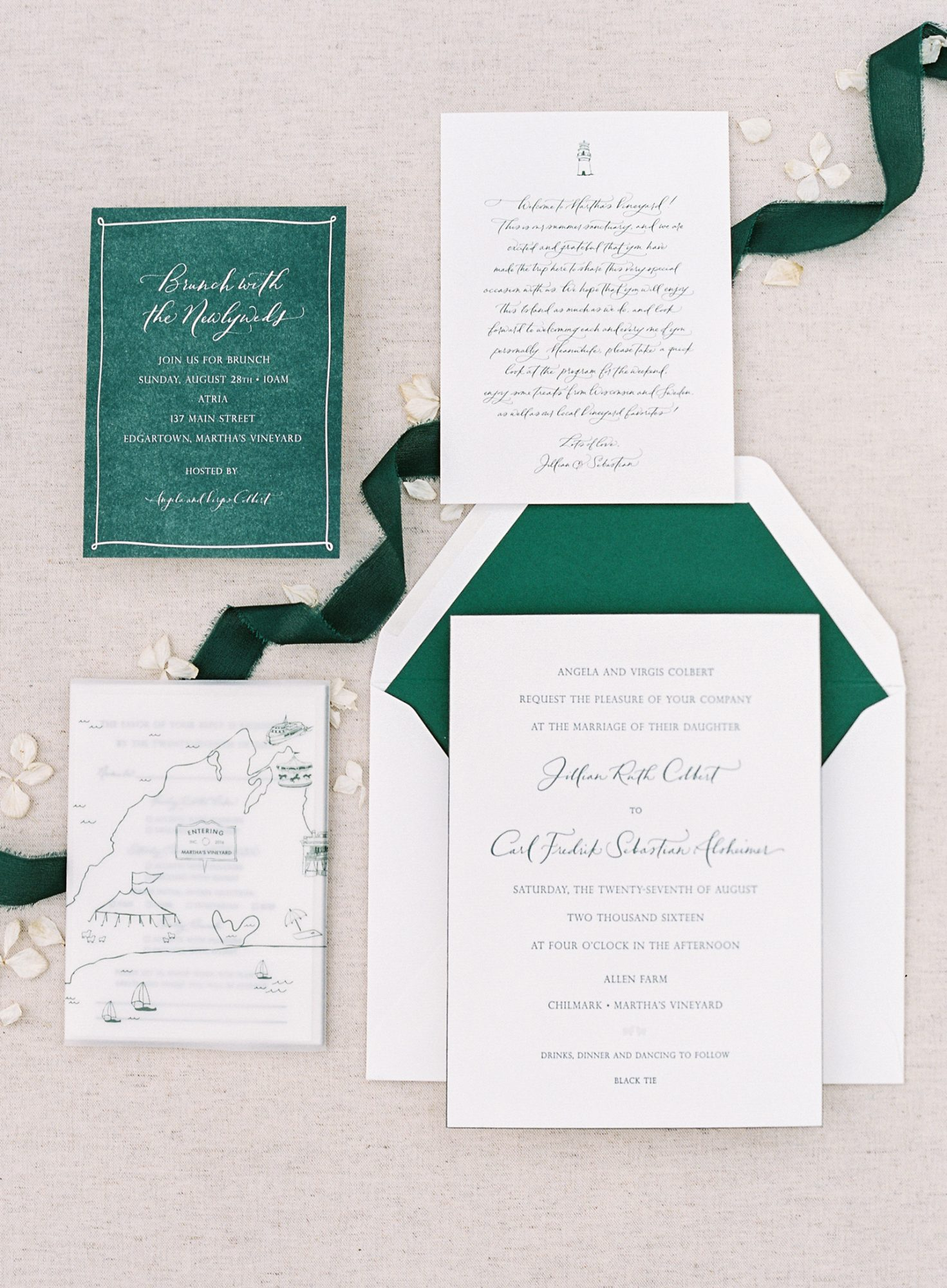 white and dark green wedding stationary suite