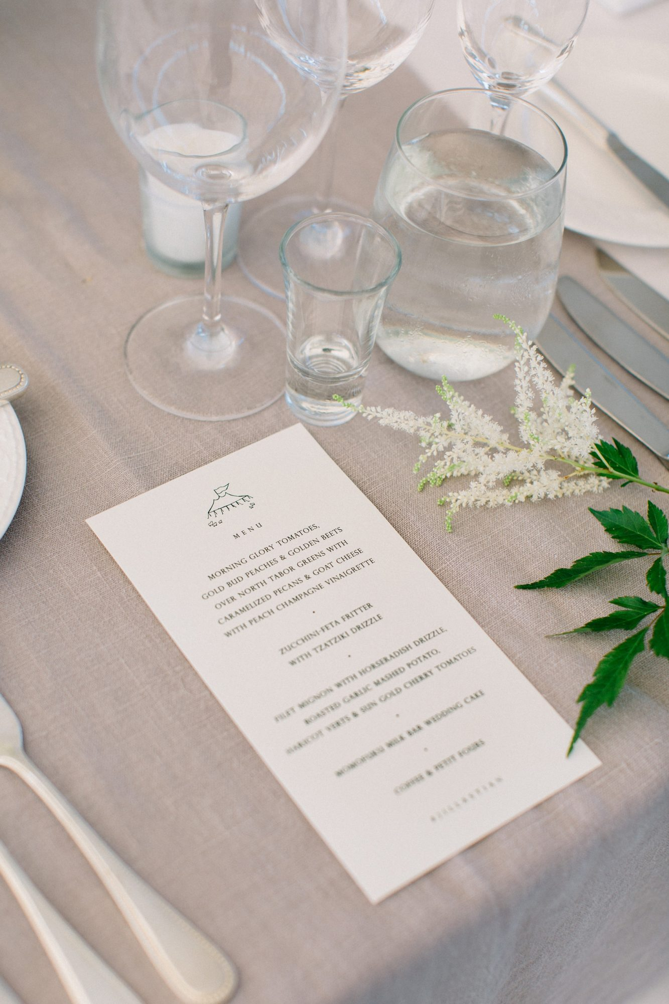 custom wedding reception menus