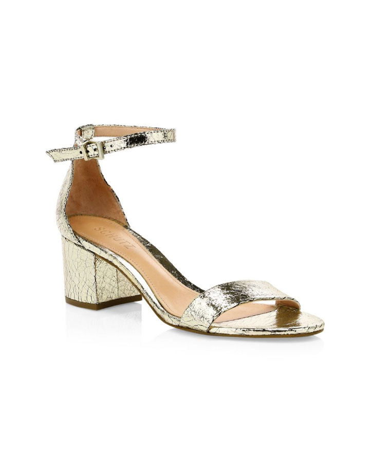 metallic crackle leather ankle-strap sandals