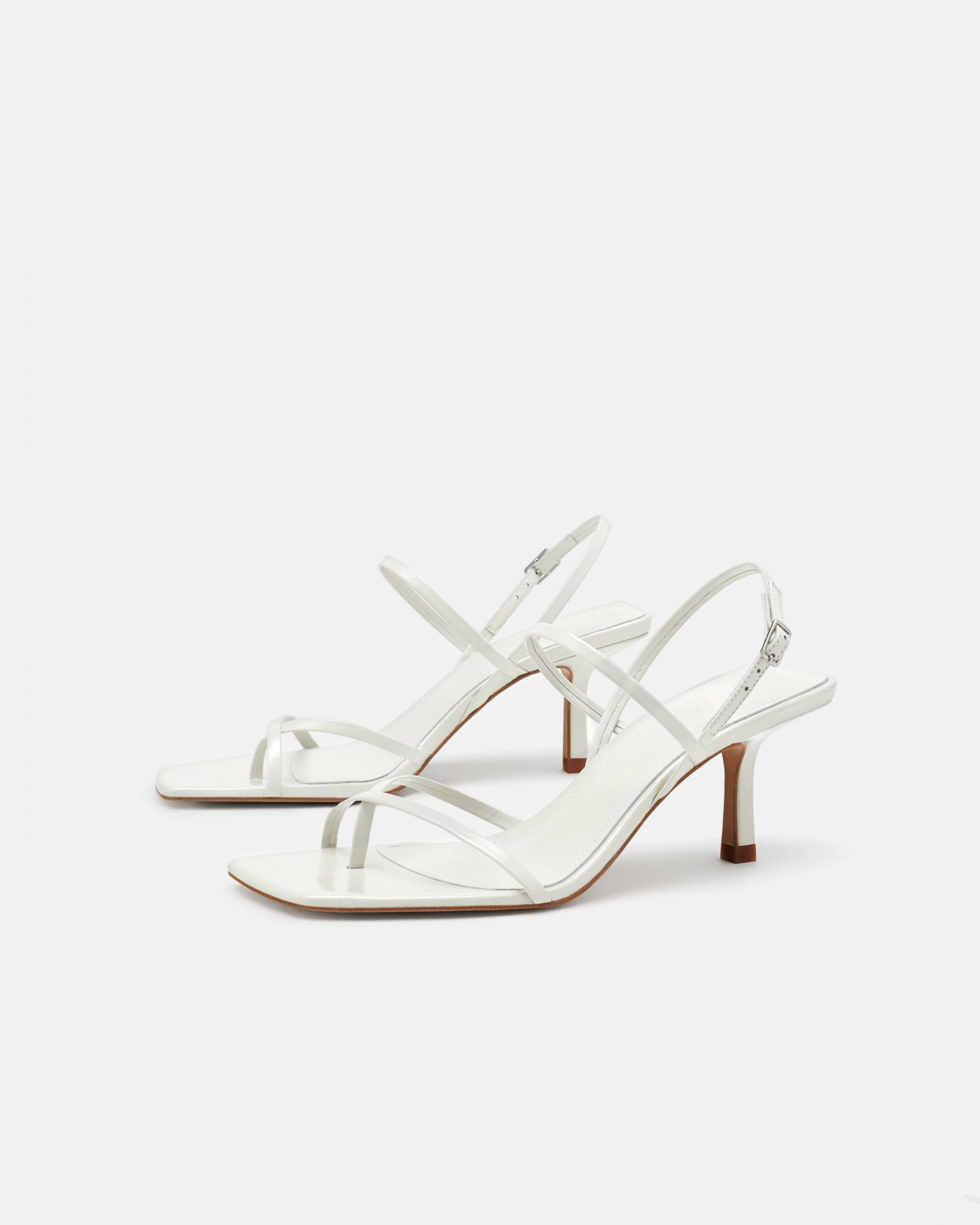 white leather strappy mid-heel sandals