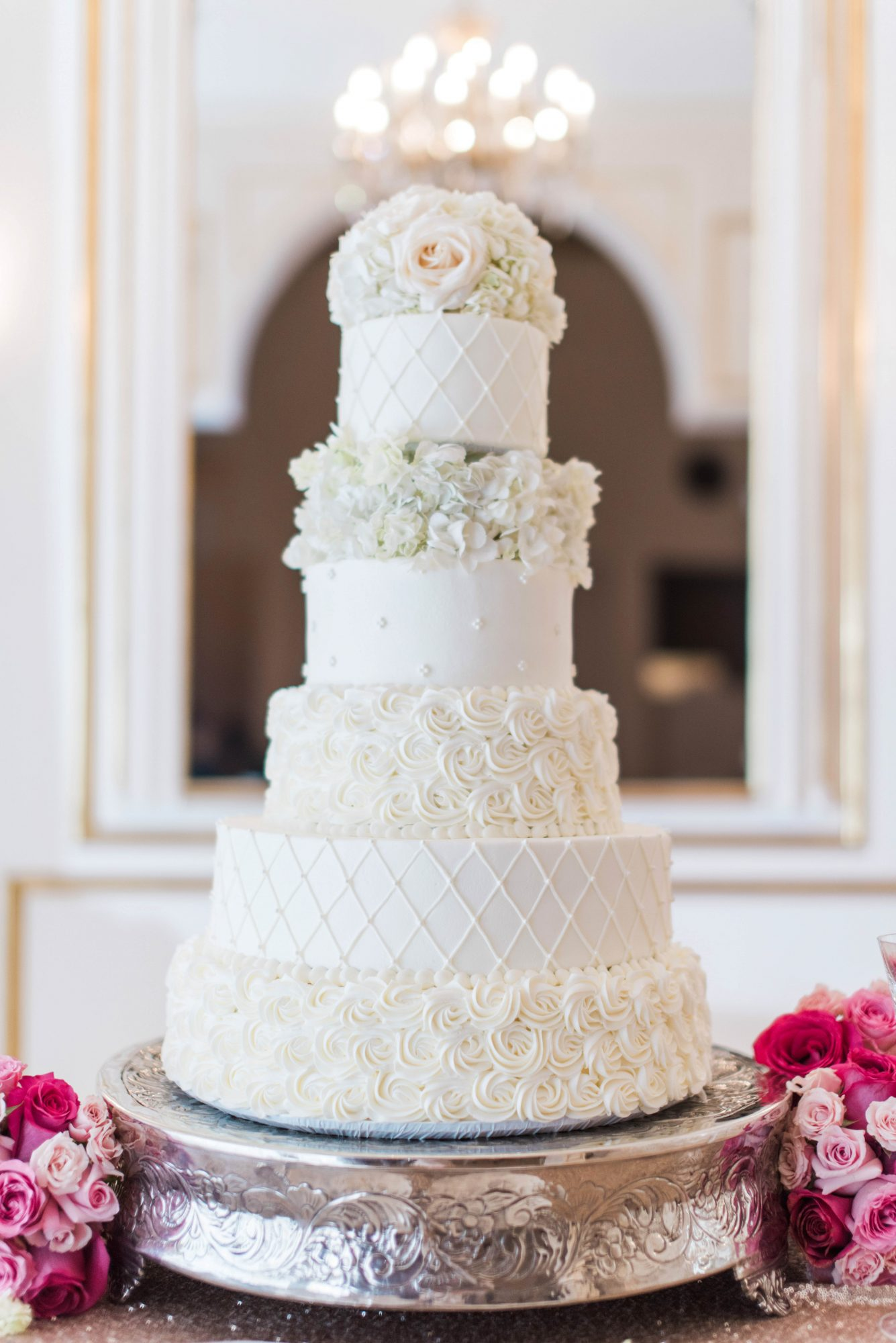 cakes with floral tiers all white dimension