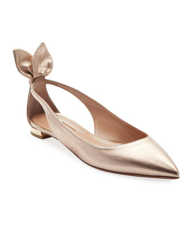 metallic leather ballet flats bridesmaid shoes