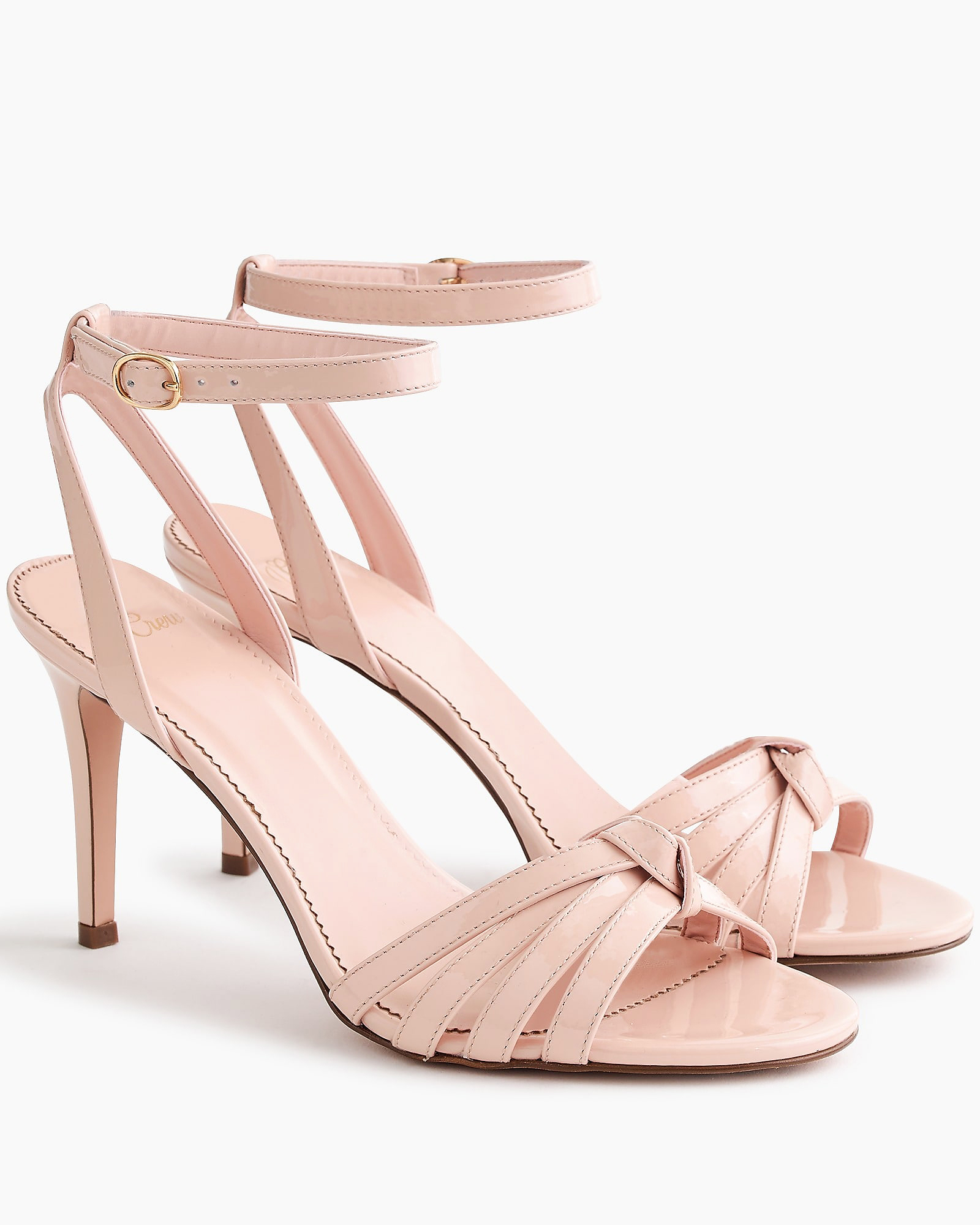 sun-washed pink patent leather sandals bridesmaid shoes