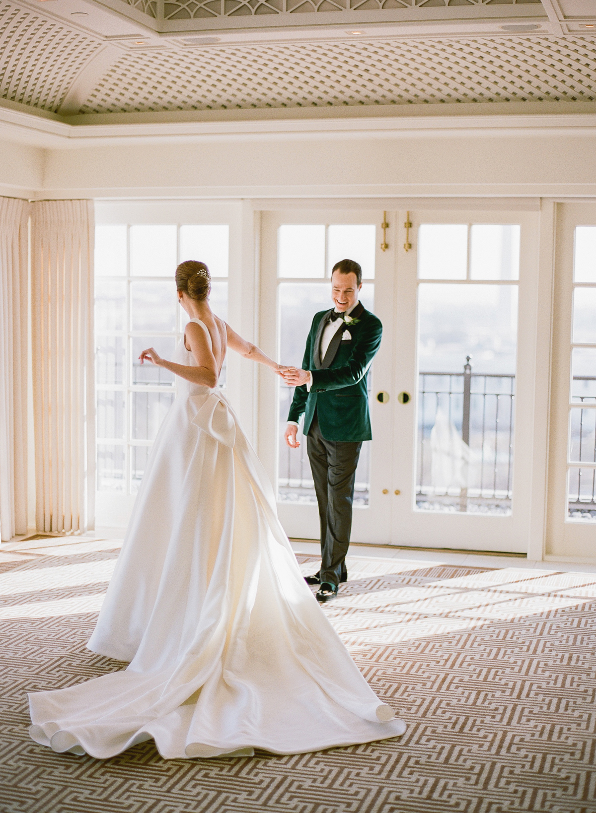 bride and groom share first look inside The Hay-Adams Hotel