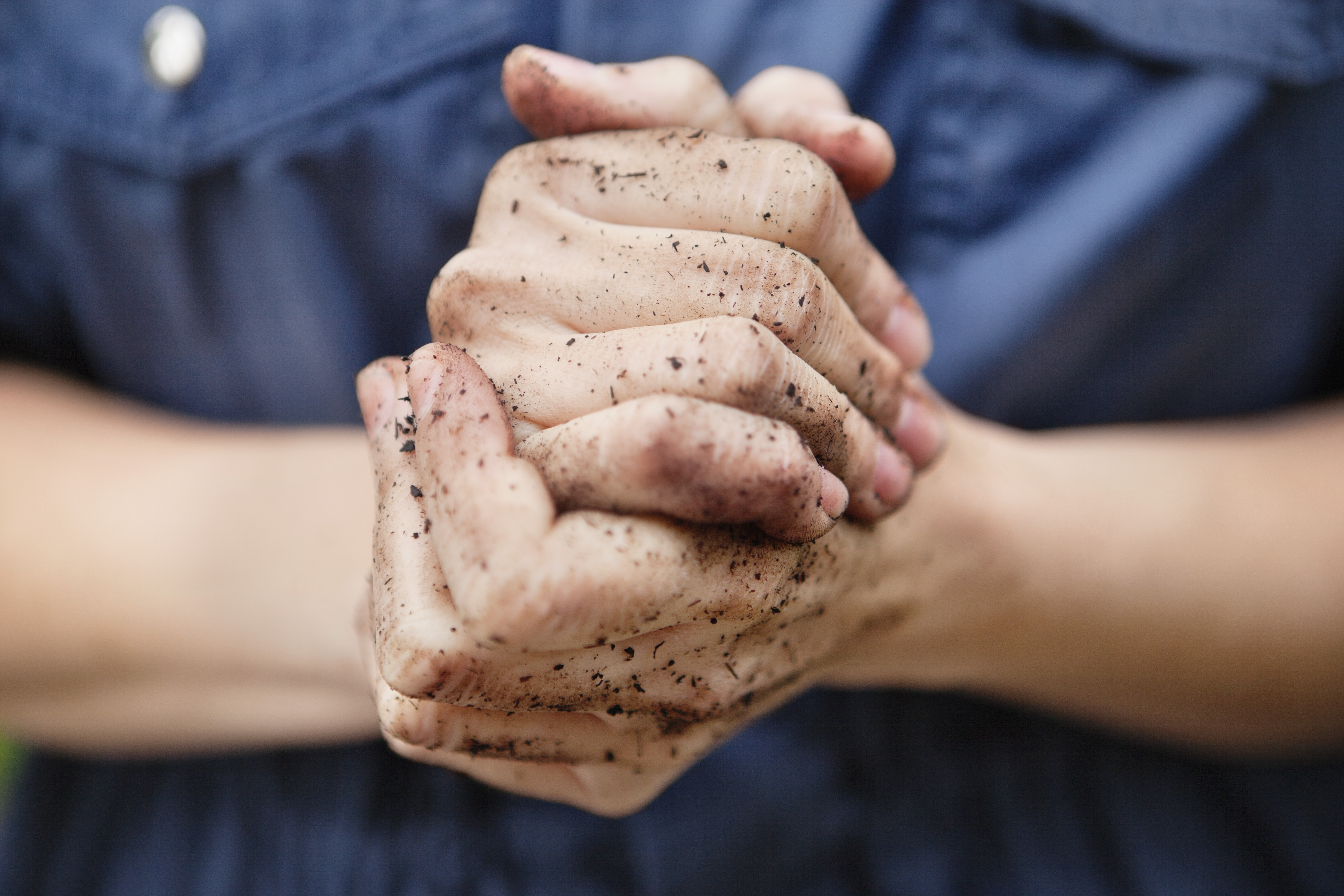 dirt-covered hands