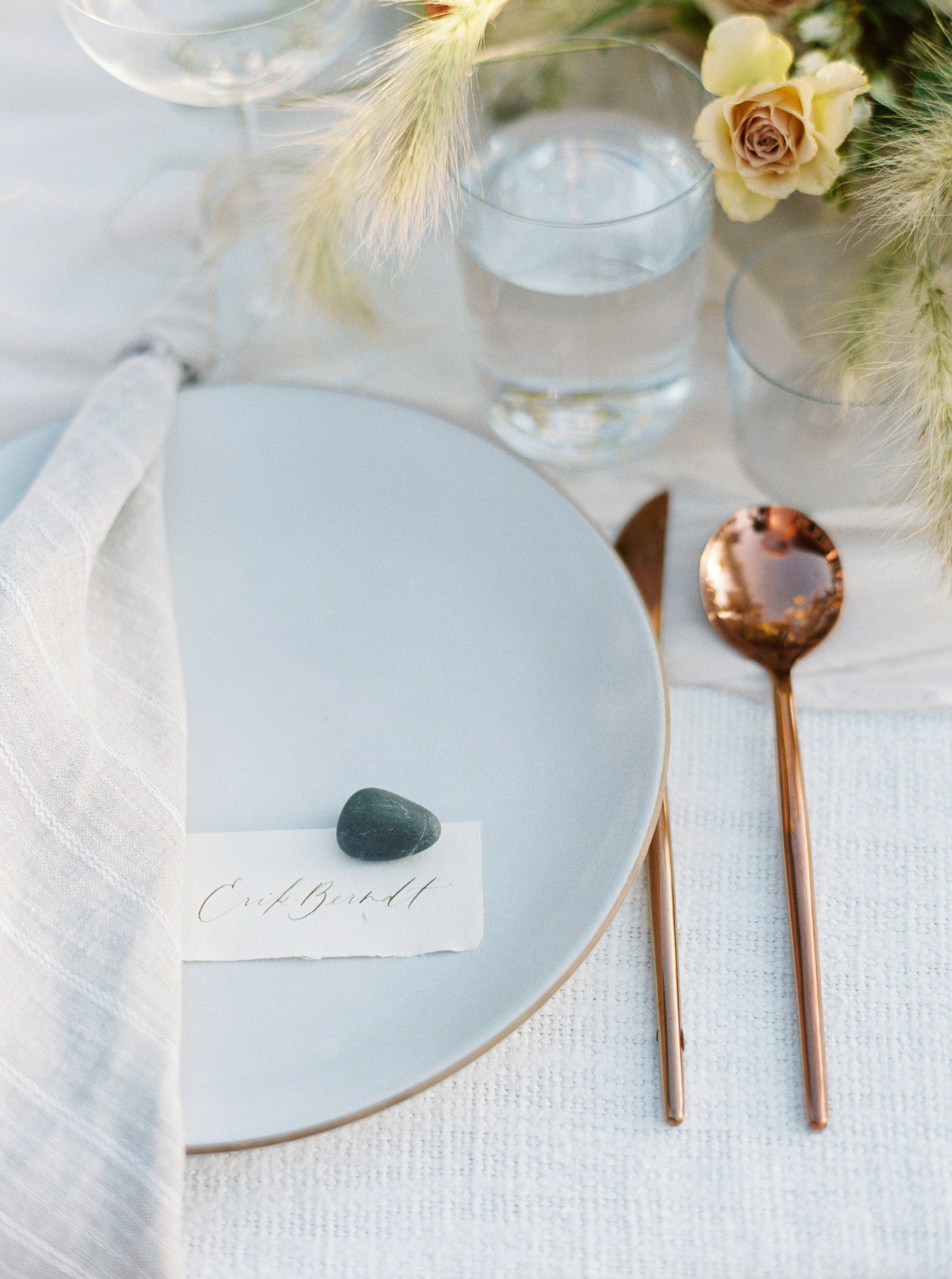 stone on place card