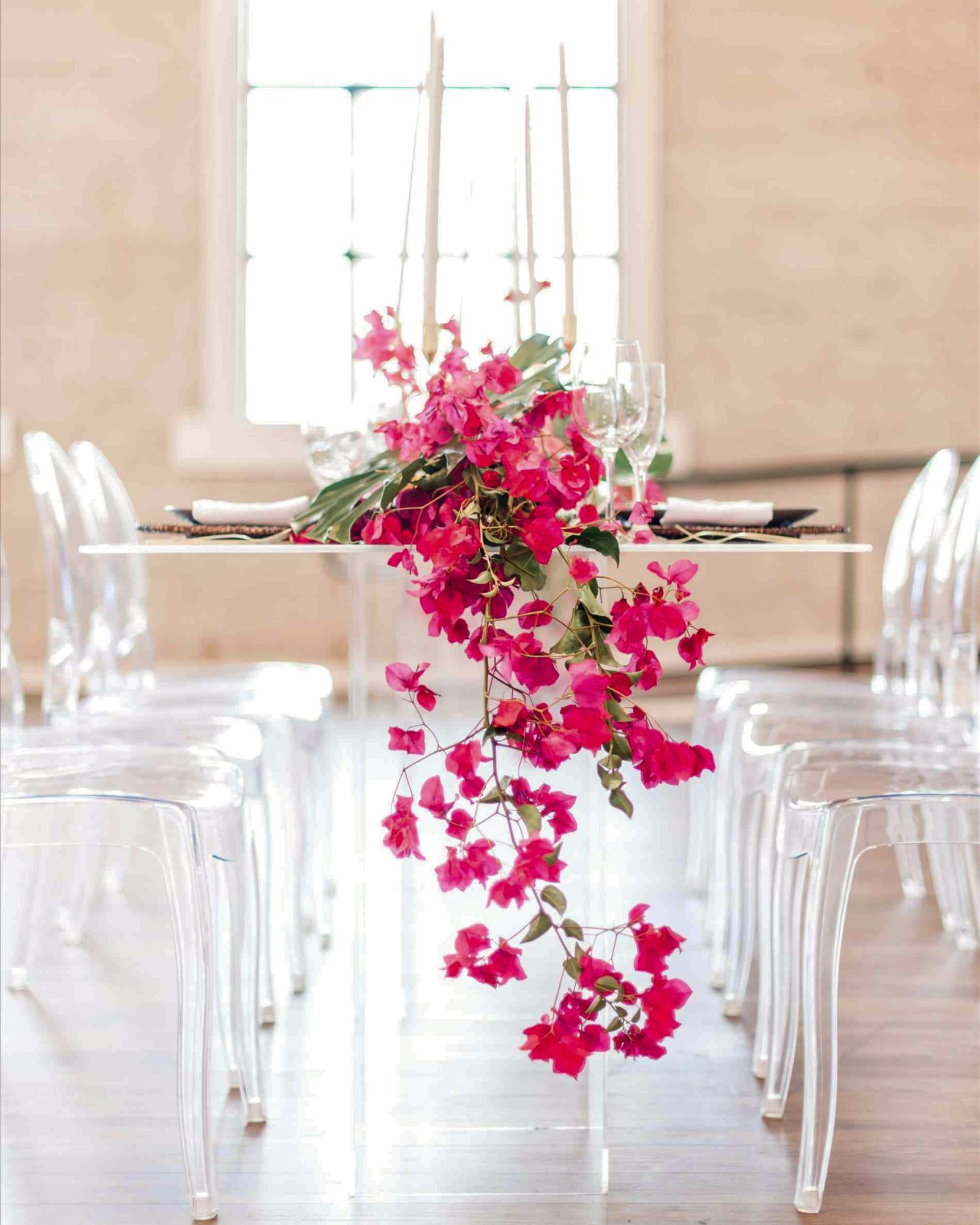 bougainvillea flowers hanging centerpiece