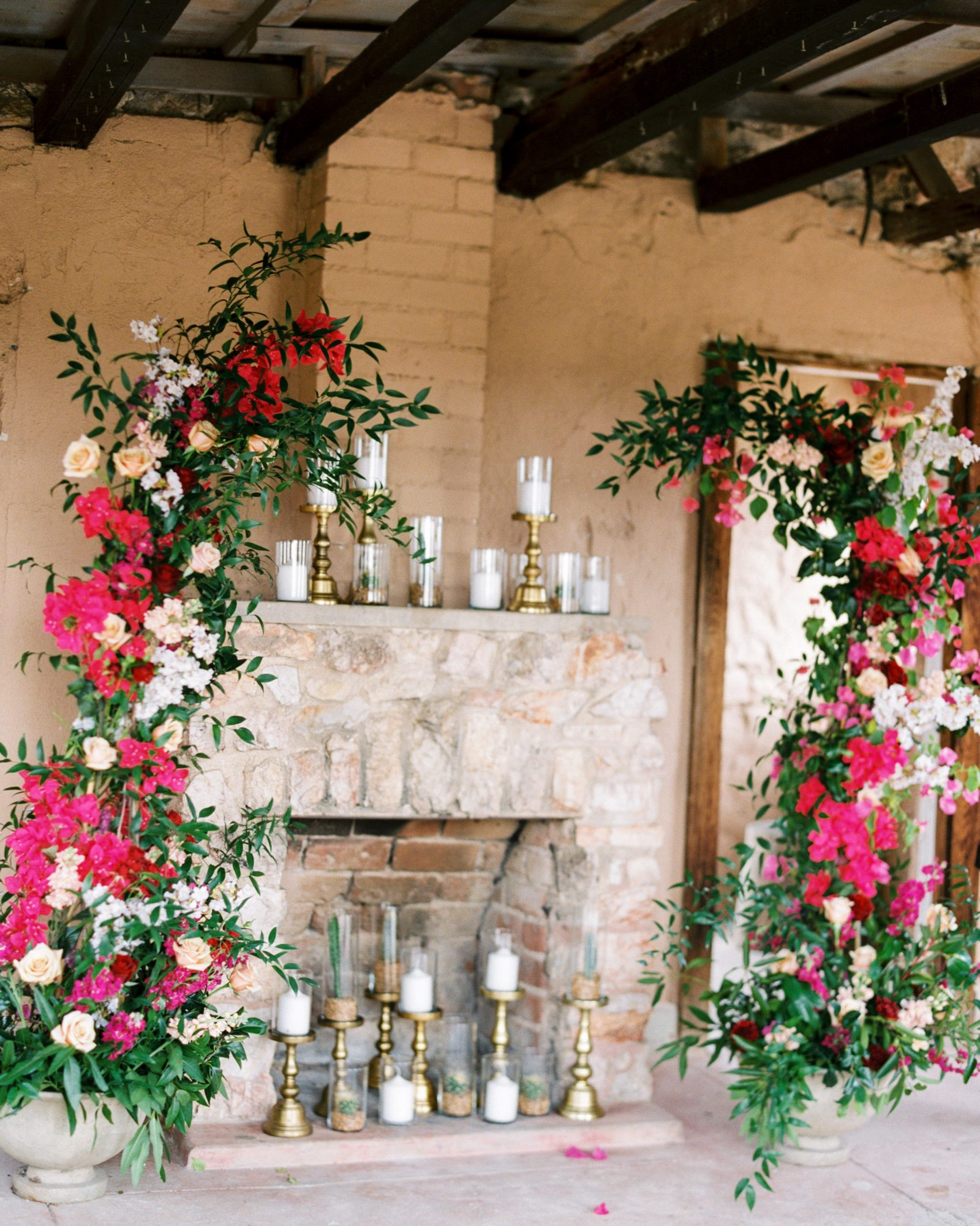 bougainvillea flowers fireplace photo backdrop