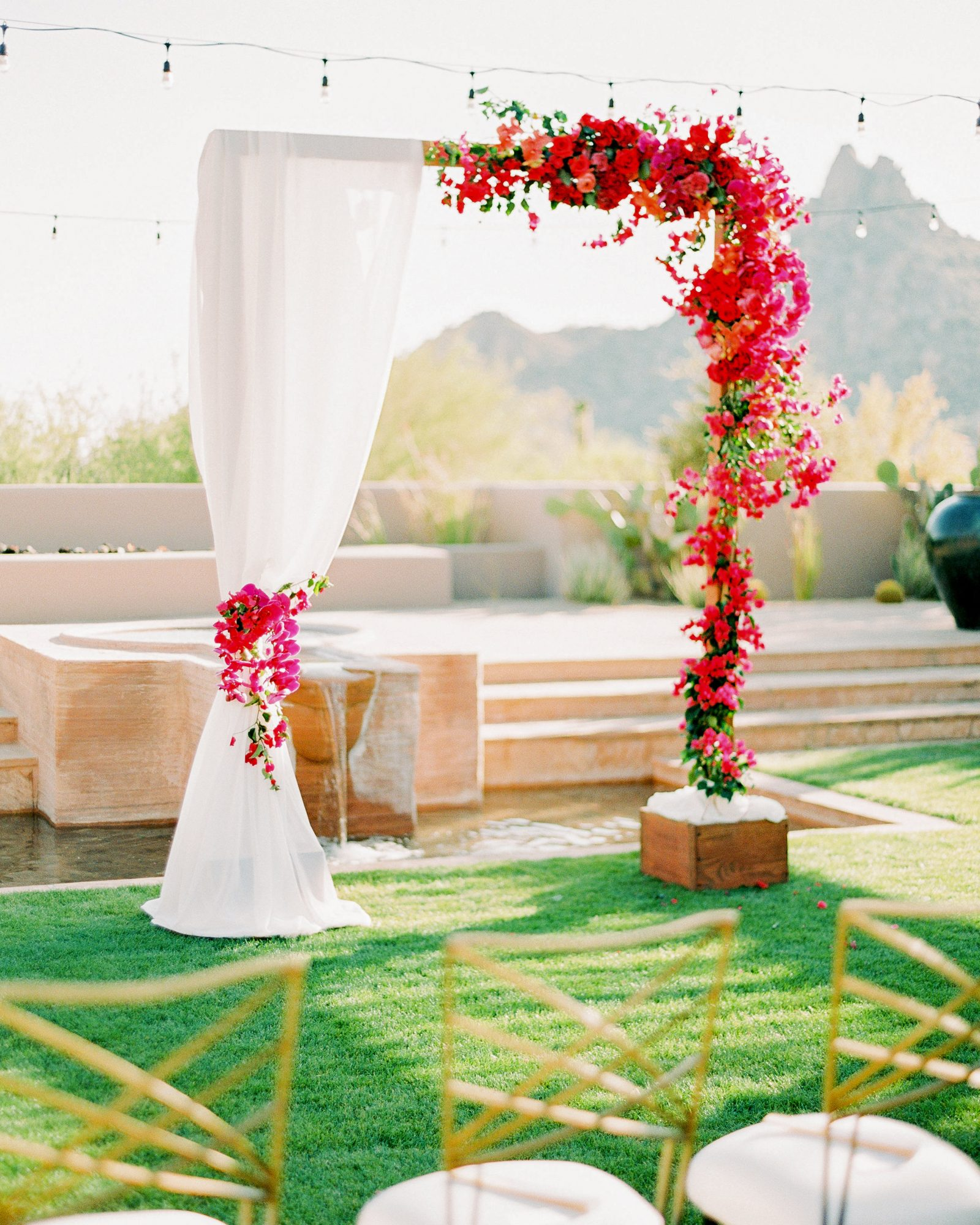 bougainvillea floral arrangements ceremony arch