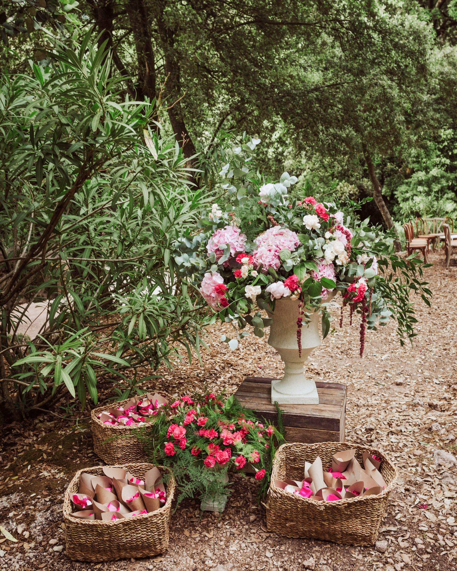 bougainvillea floral toss baskets