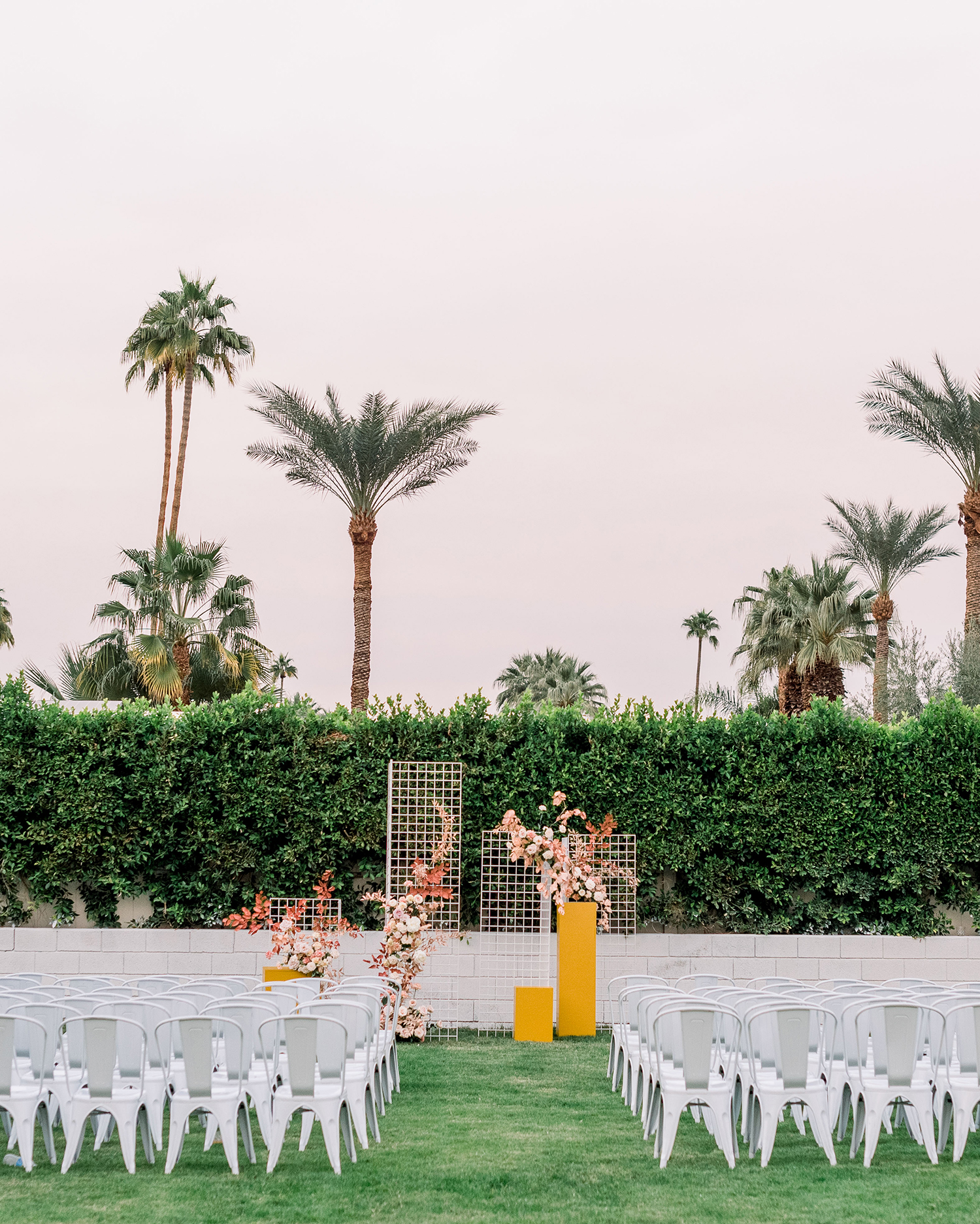 hanna will wedding outdoor ceremony with palm trees