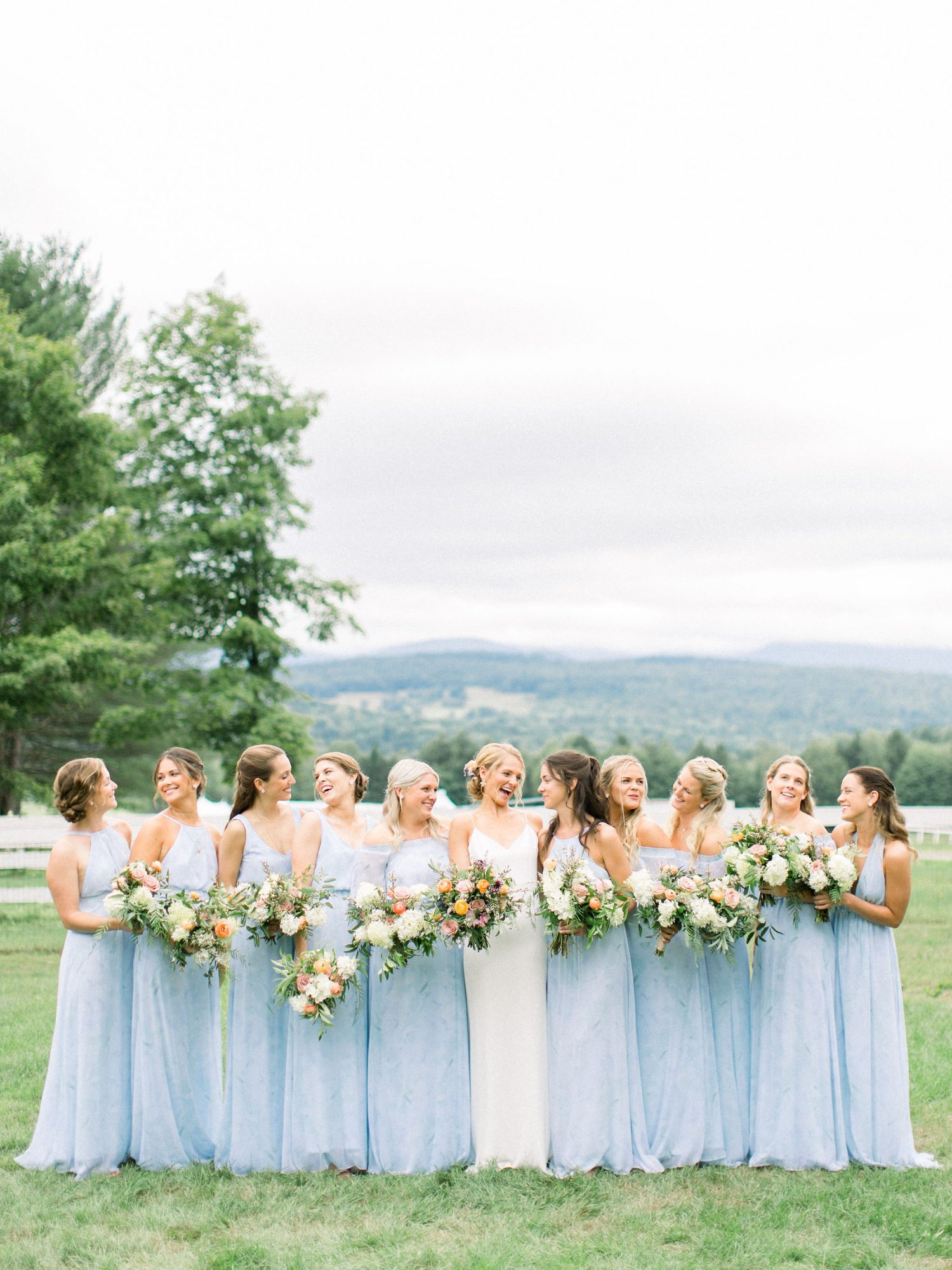 lauren josh wedding bridesmaids in blue dresses