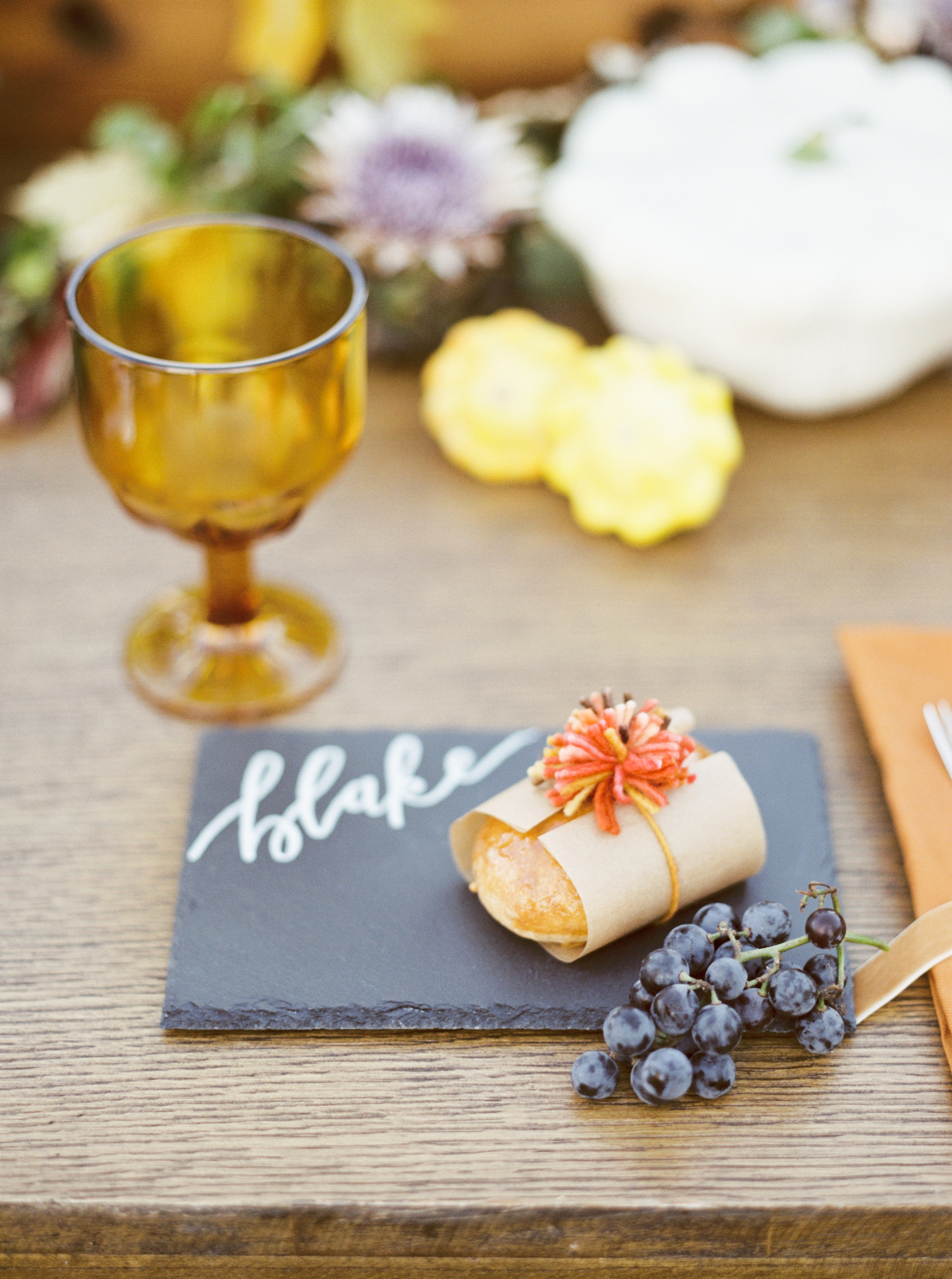 appetizers on slate place card