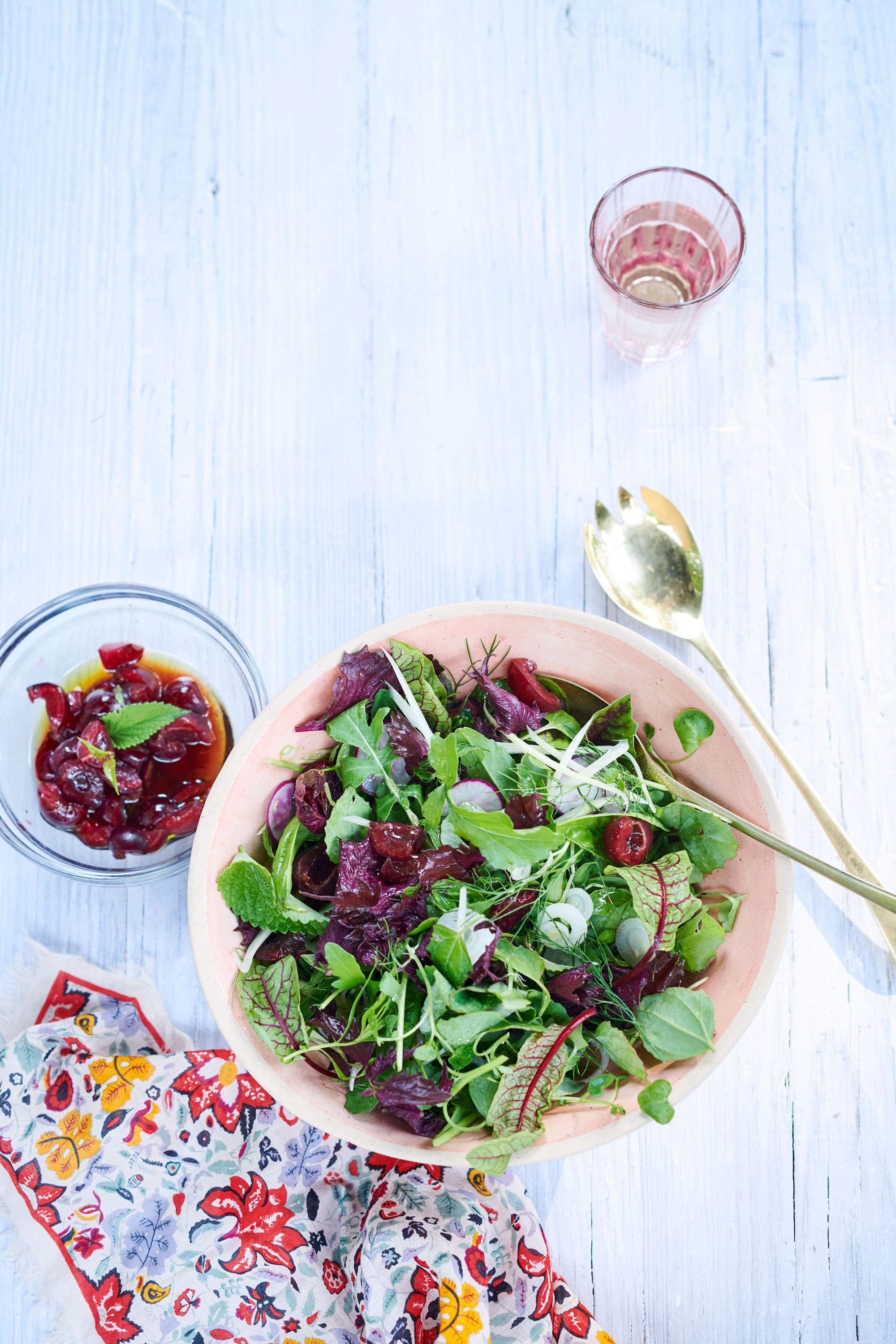 garden salad with herbs and sour-cherry dressing