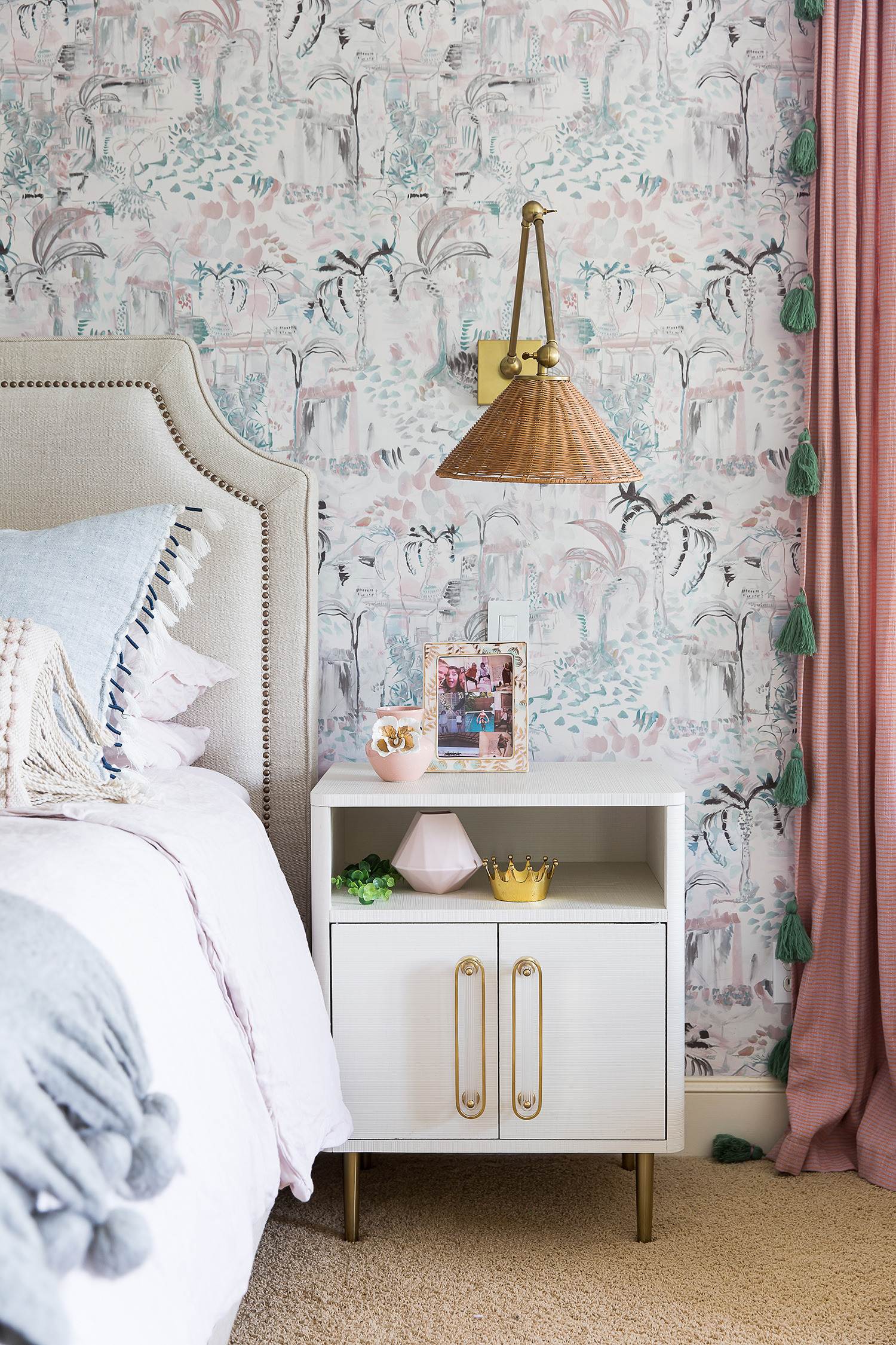 pink and gray wallpapered bedroom