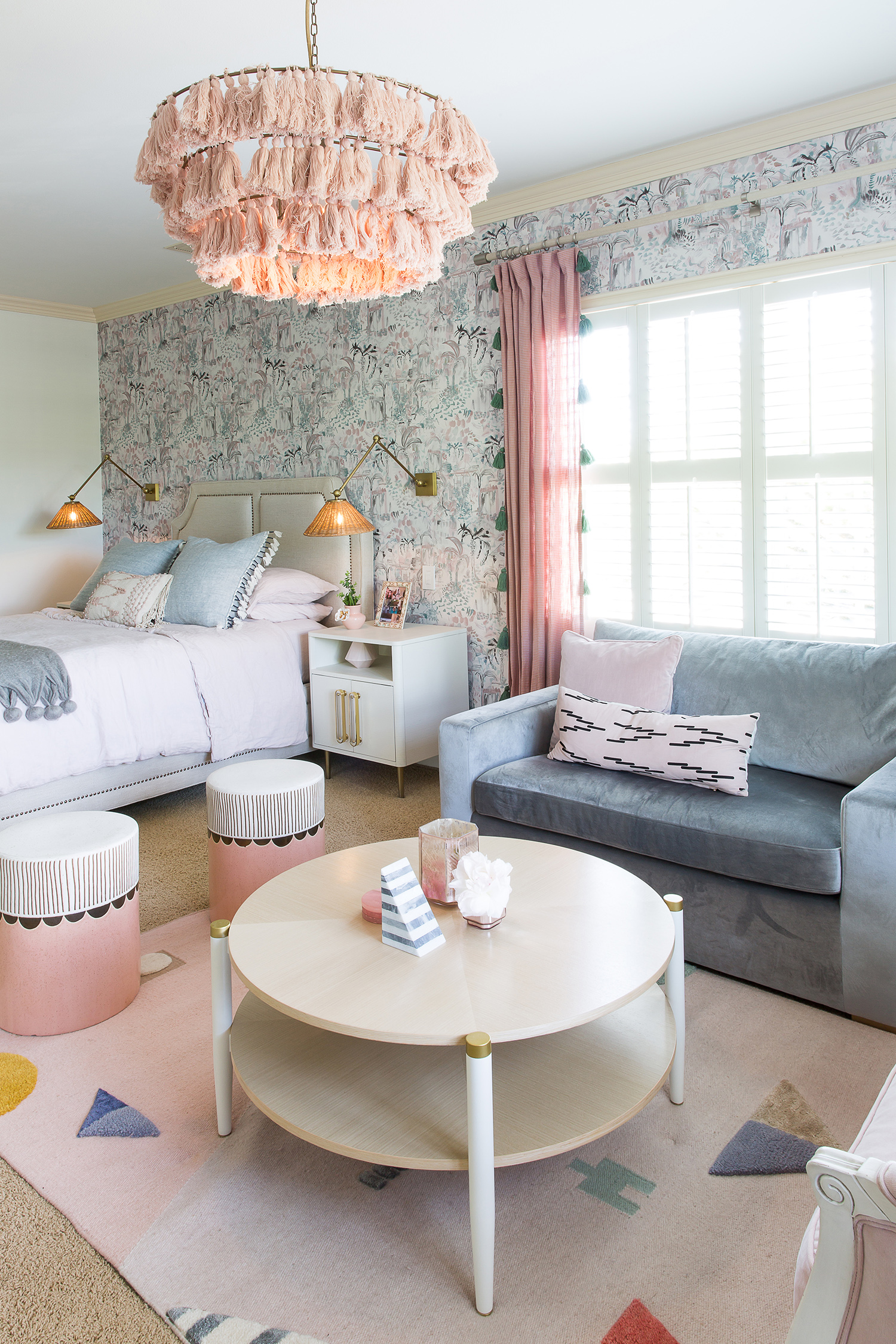 pink and gray-blue bedroom couch and bed
