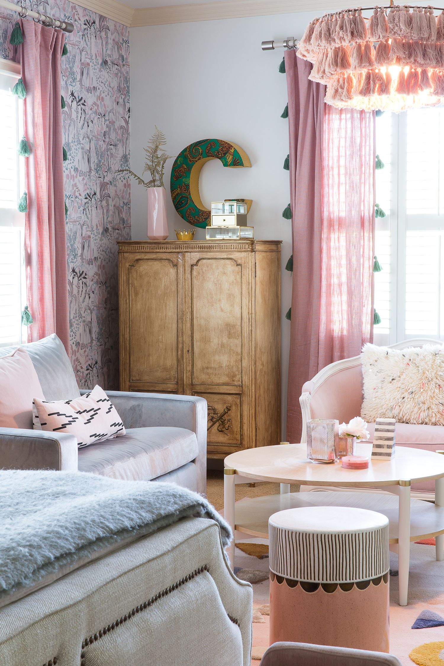 austin pink and gray bedroom