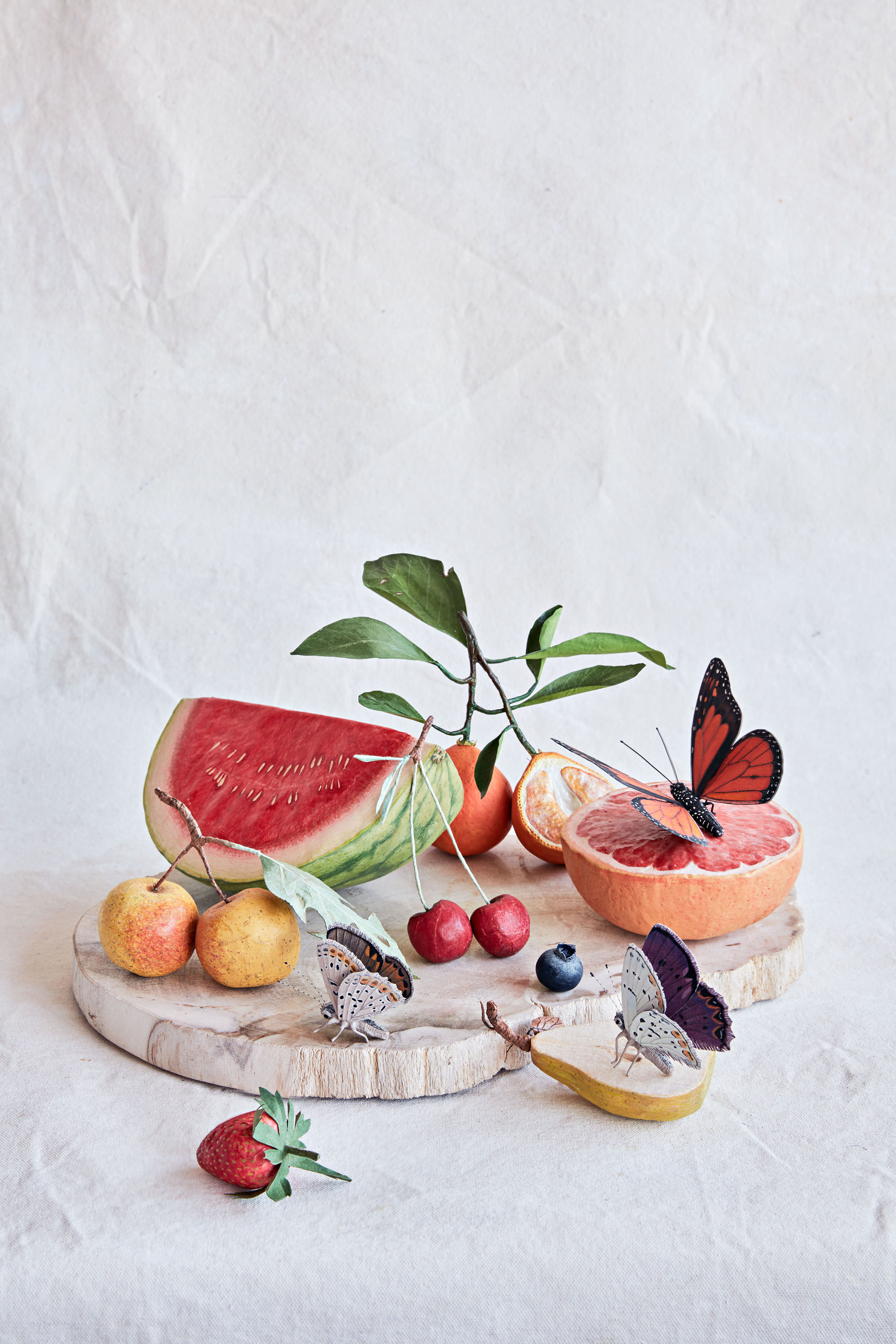 sculptural paper fruit still life