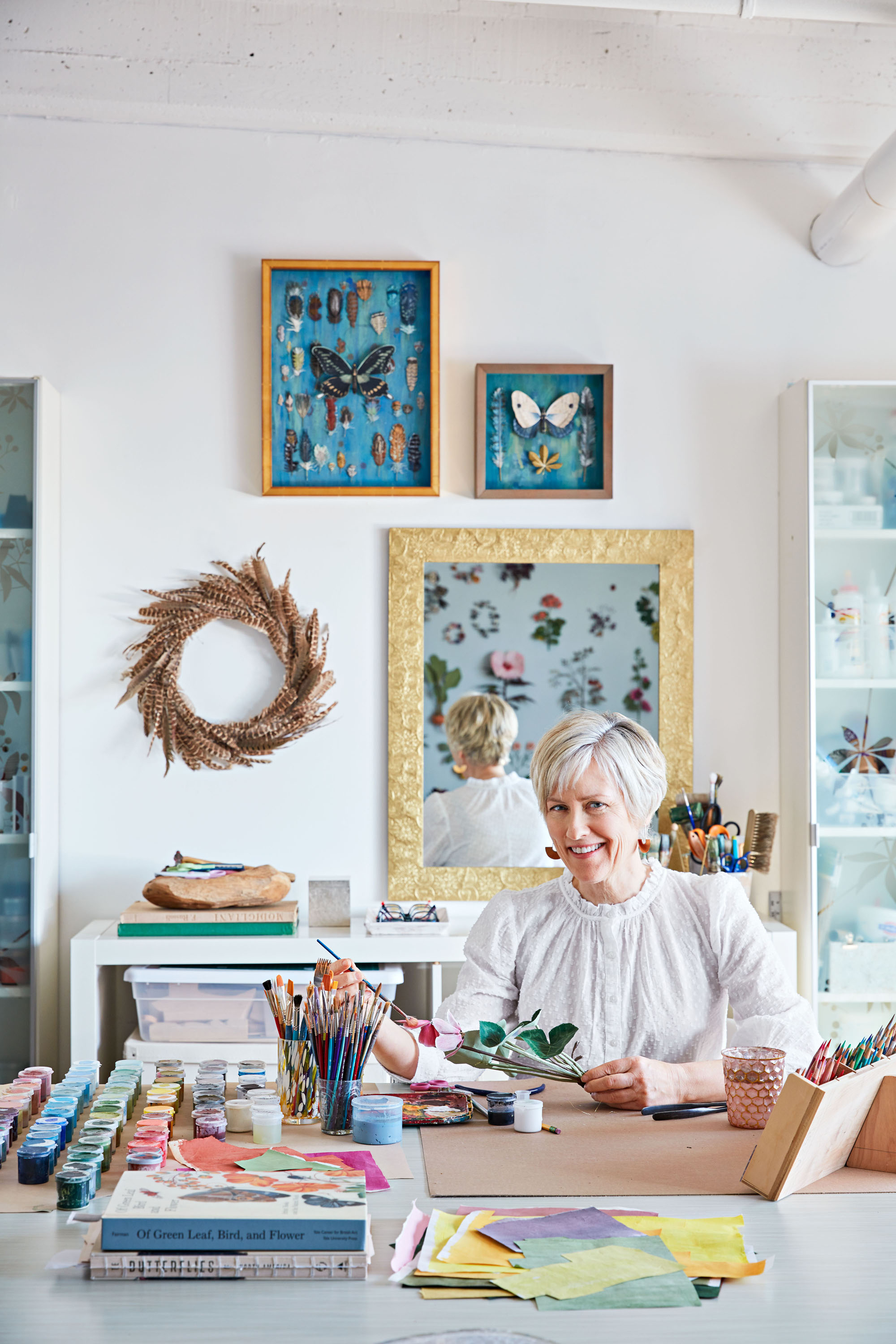 portrait of ann wood in her studio